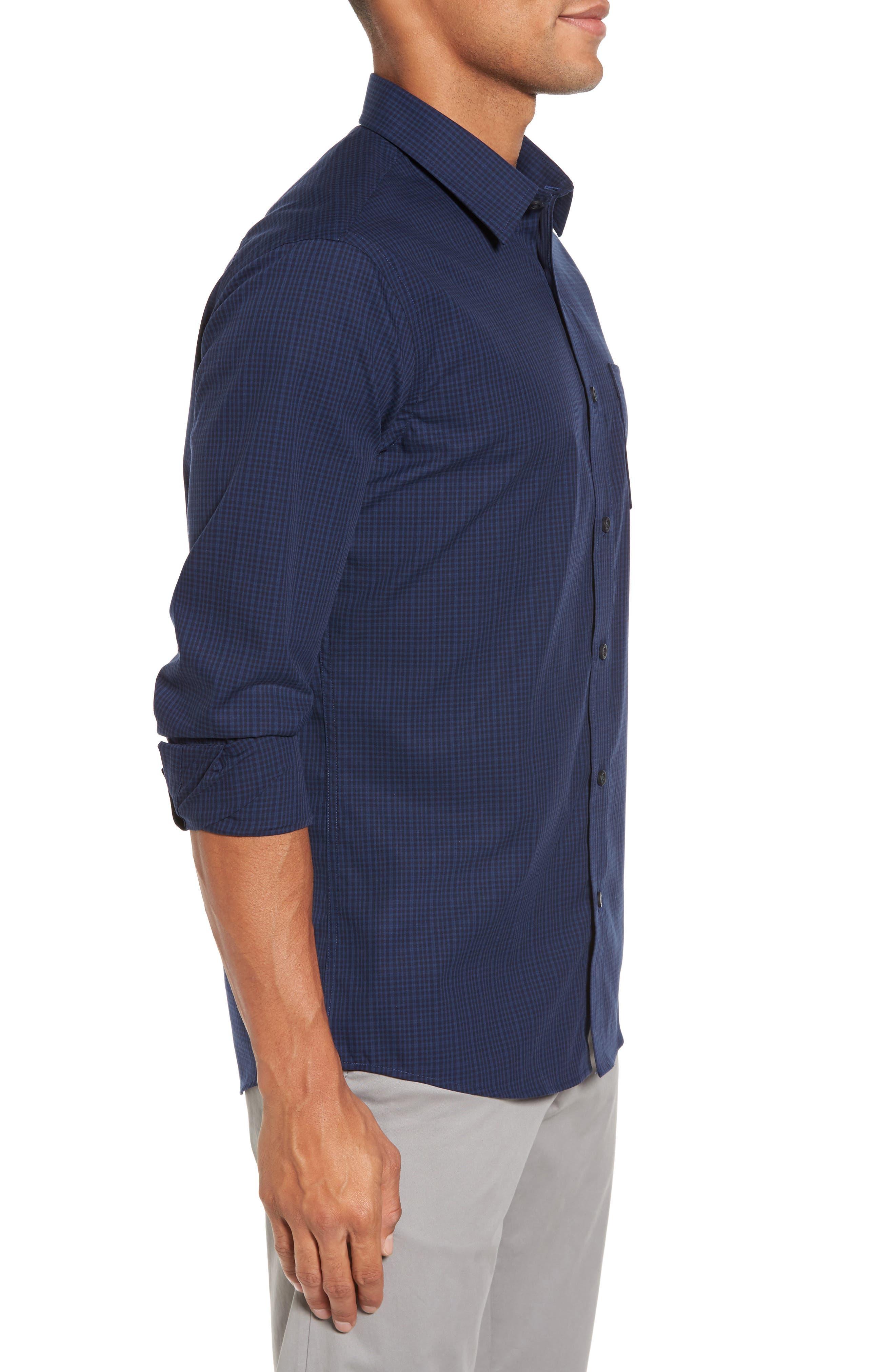 Trim Fit Non-Iron Mini Check Sport Shirt,                             Alternate thumbnail 3, color,                             410