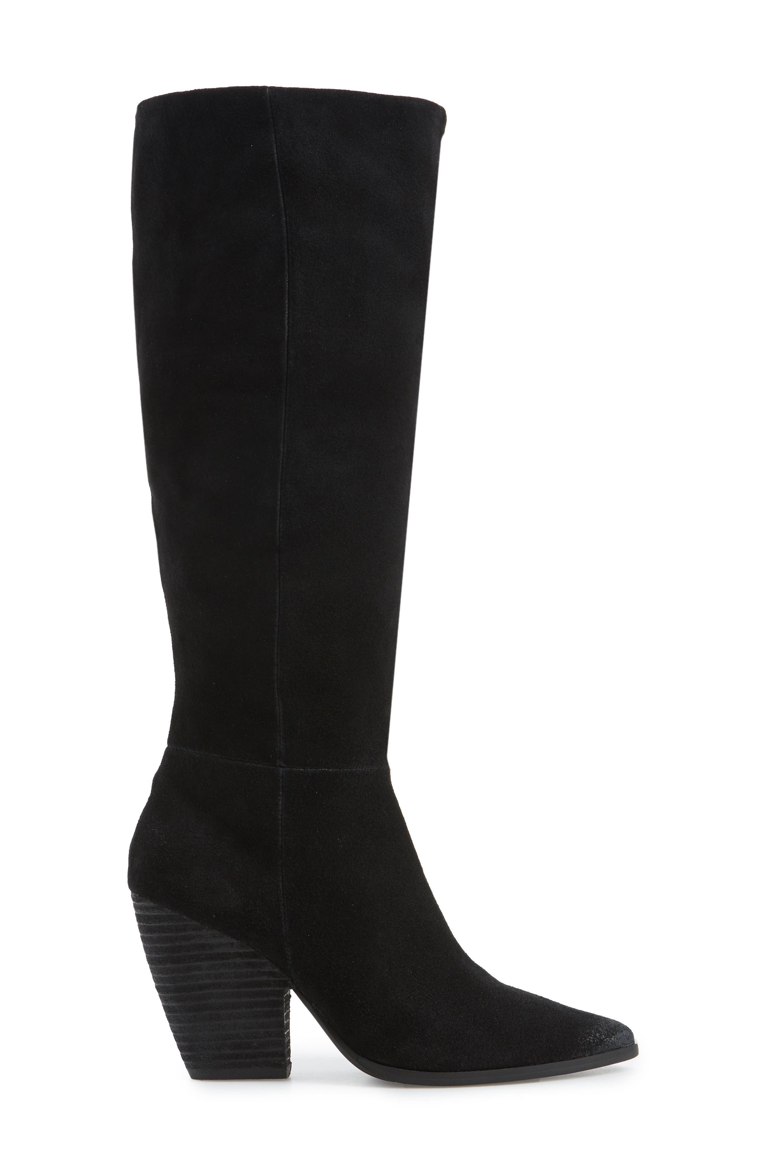 Nyles Knee High Boot,                             Alternate thumbnail 3, color,                             BLACK SUEDE