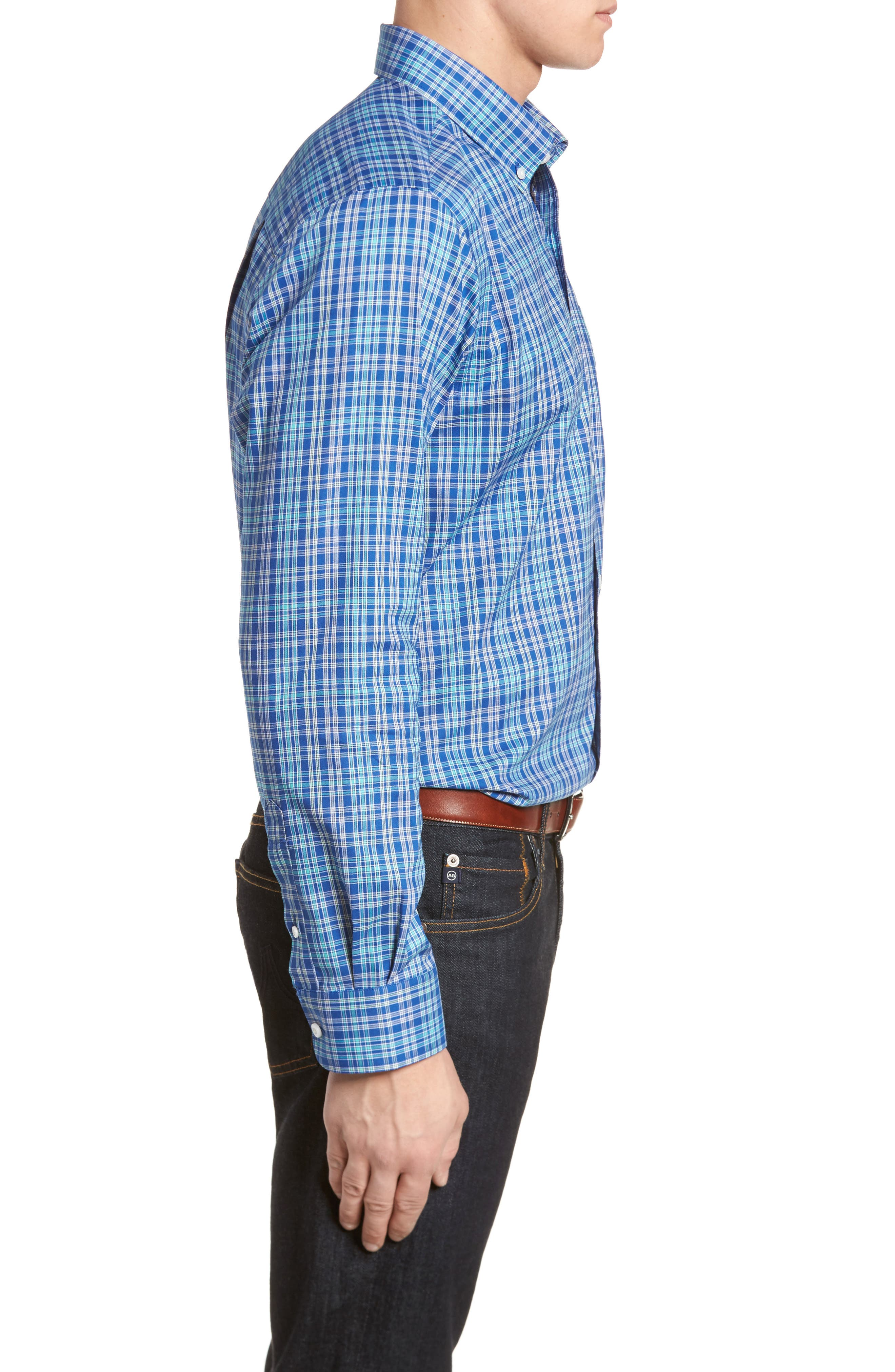 Charlie Easy Care Plaid Sport Shirt,                             Alternate thumbnail 3, color,                             419