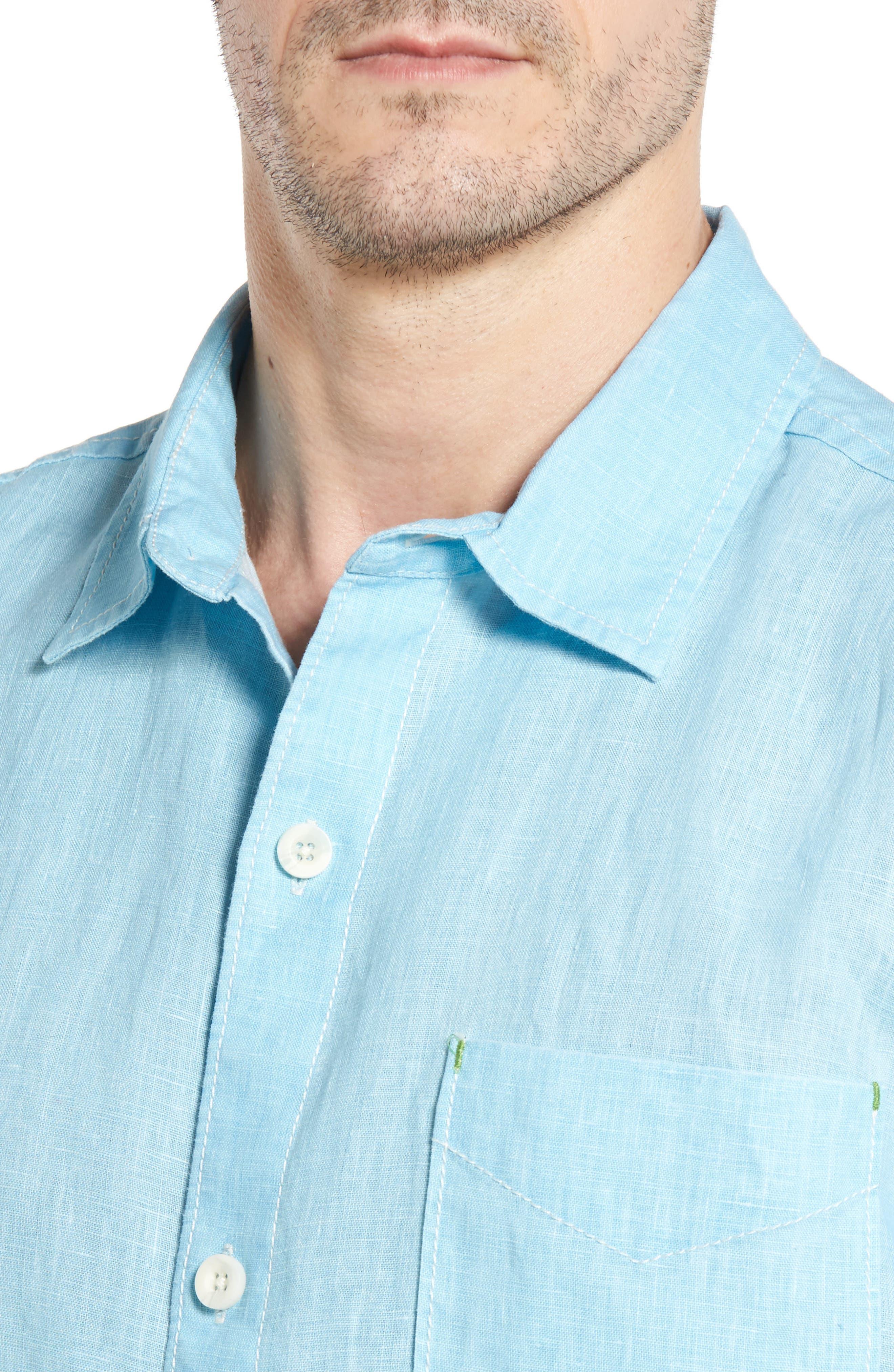 Seaglass Breezer Short Sleeve Linen Sport Shirt,                             Alternate thumbnail 40, color,