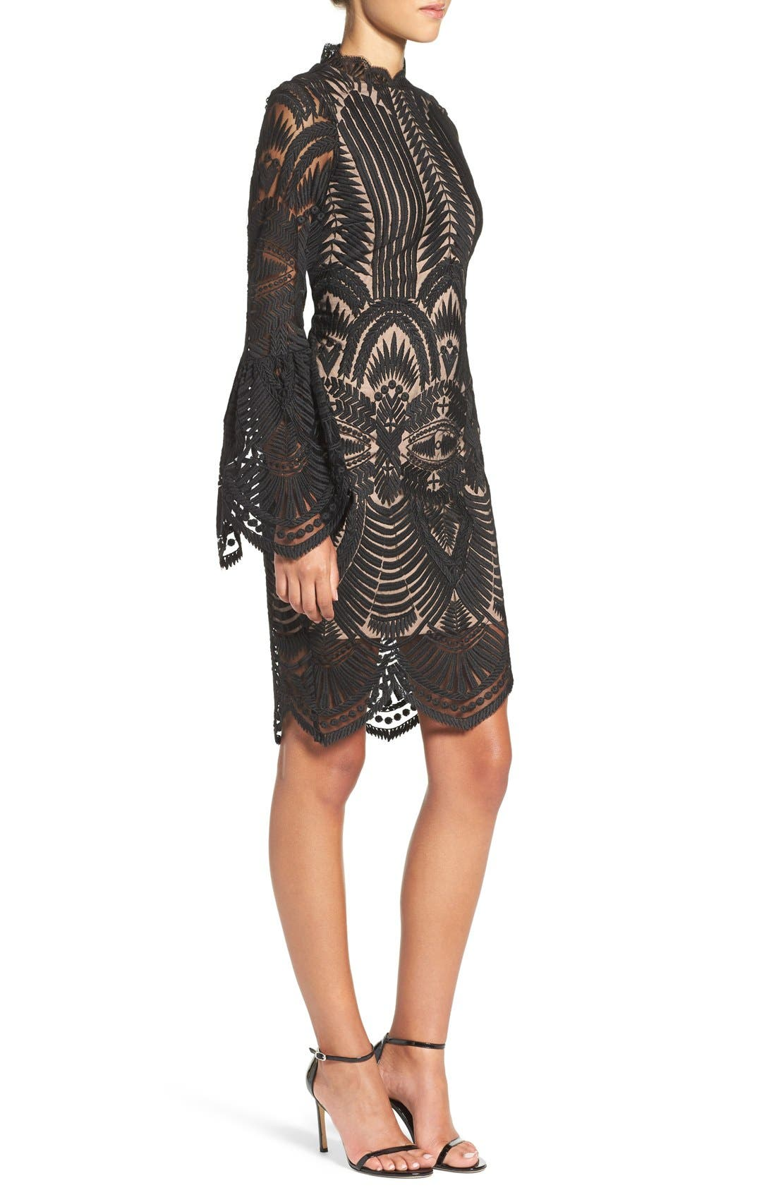 'Emmie' Bell Sleeve Lace Sheath Dress,                             Alternate thumbnail 3, color,                             001