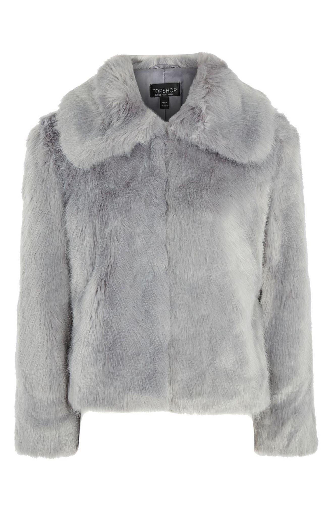 Claire Faux Fur Coat,                             Alternate thumbnail 4, color,                             020