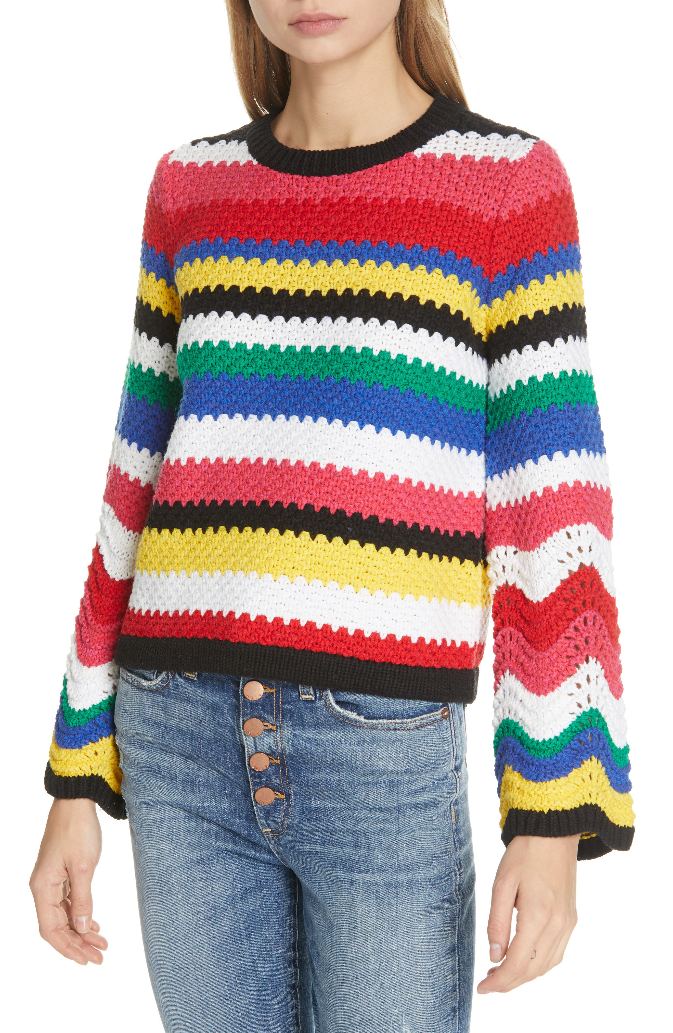 ALICE + OLIVIA,                             Alivia Stripe Bell Sleeve Cotton Blend Sweater,                             Main thumbnail 1, color,                             MULTI