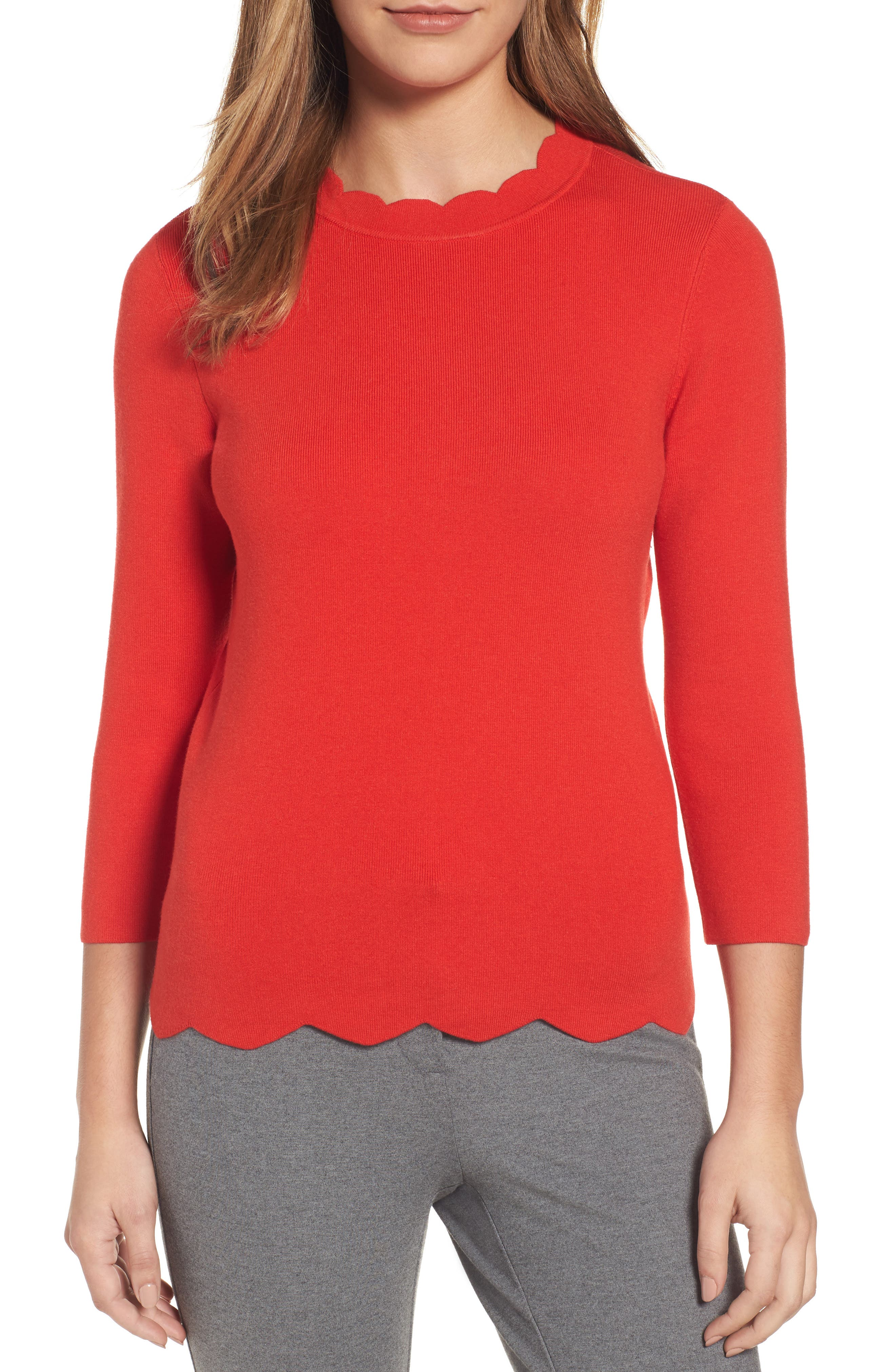 Halogen Scallop Edge Sweater,                             Main thumbnail 8, color,