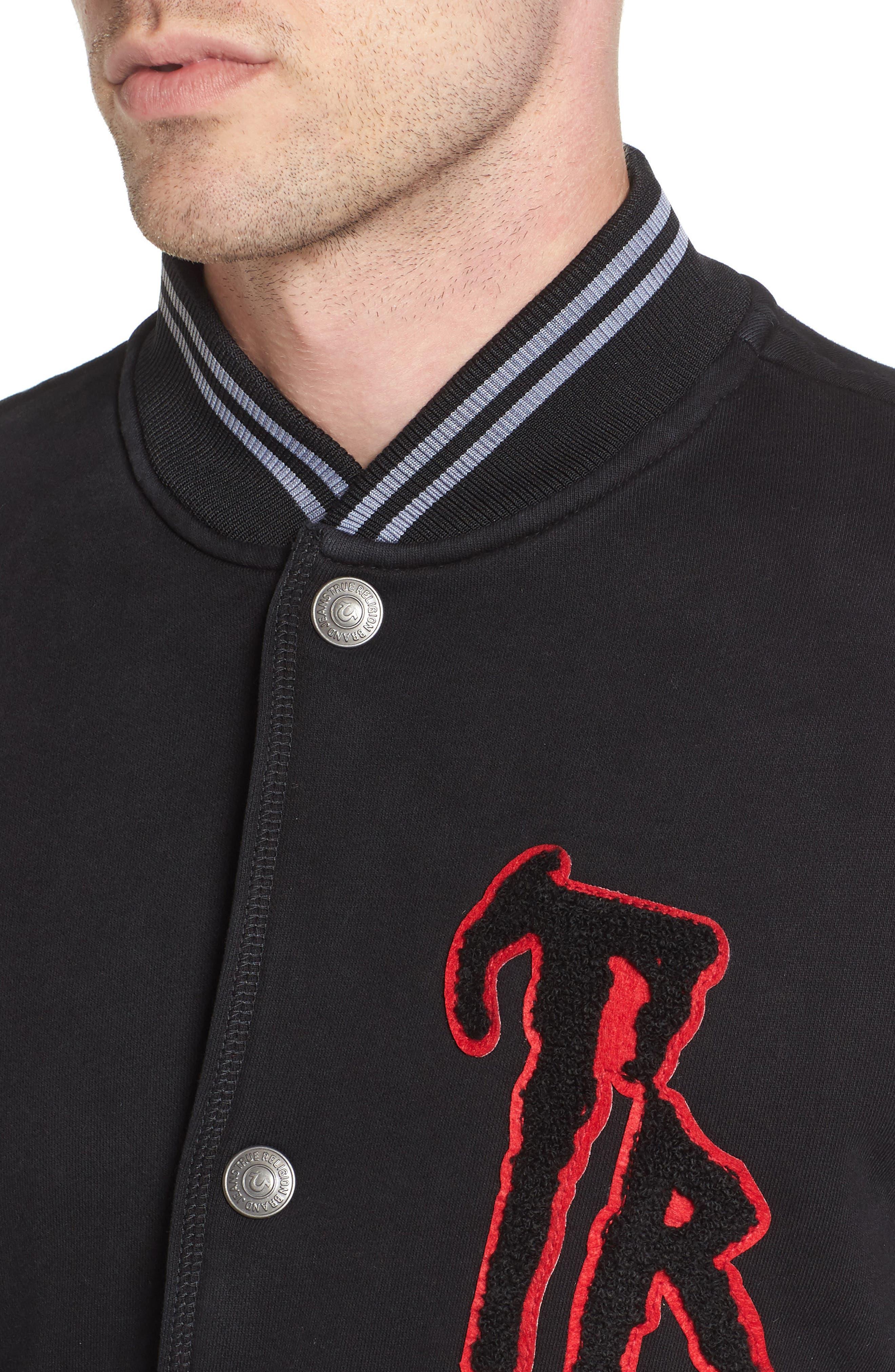 Collegiate Knit Inset Jacket,                             Alternate thumbnail 4, color,