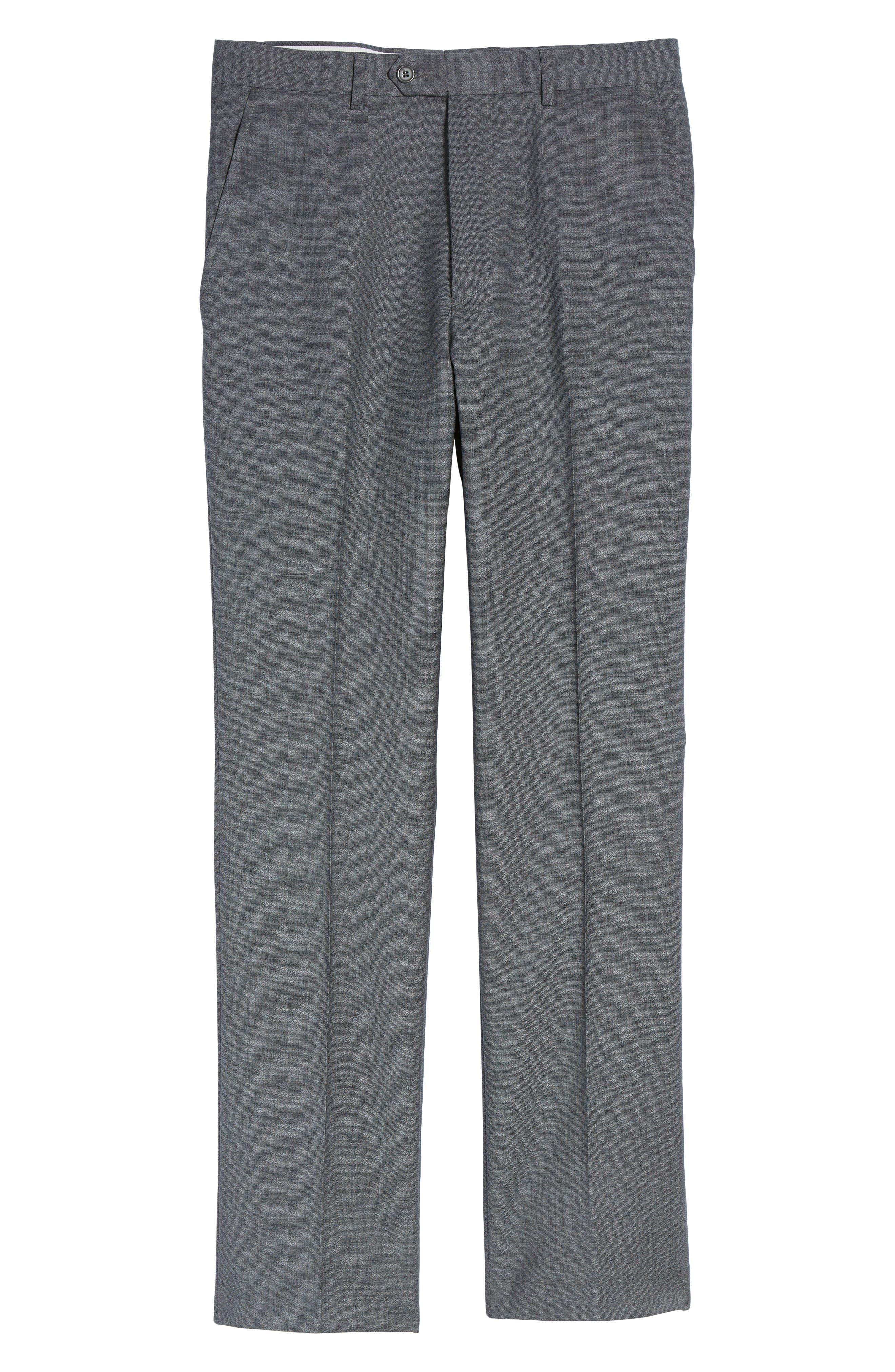 SANTORELLI,                             Flat Front Solid Wool Trousers,                             Alternate thumbnail 6, color,                             020