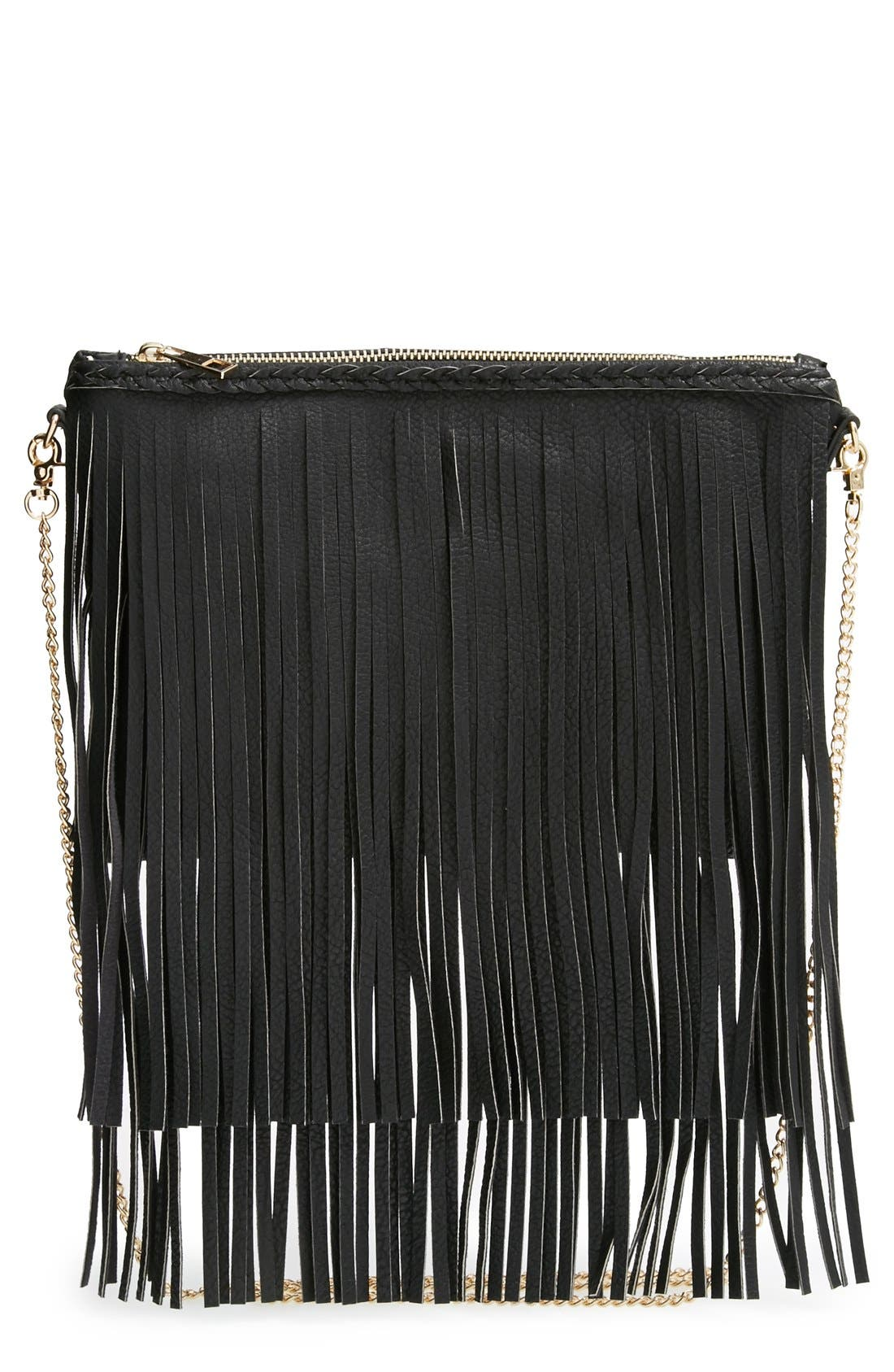 'Rose' Fringe Faux Leather Convertible Crossbody Bag,                         Main,                         color, 001