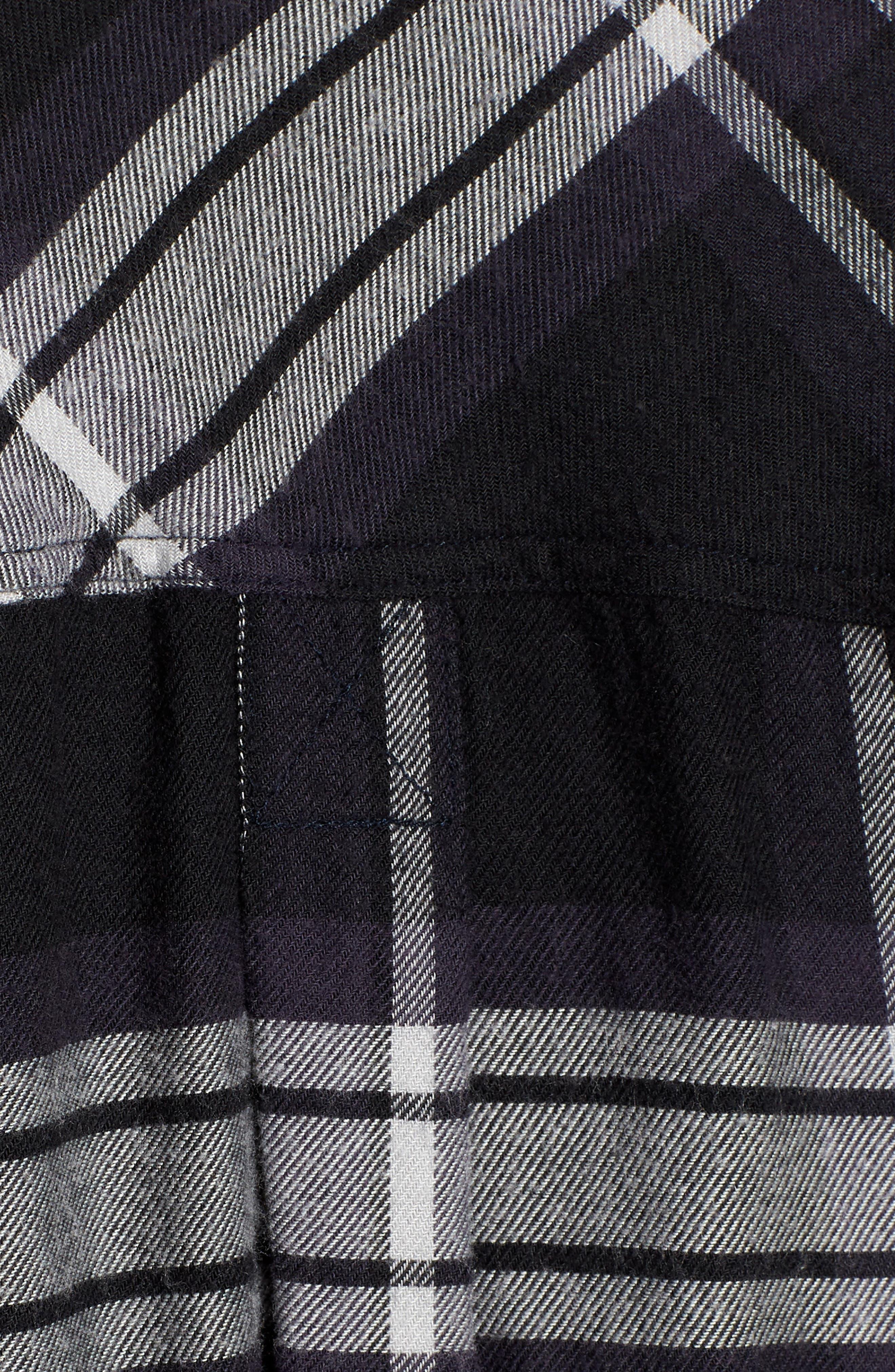 Leo Plaid Woven Shirt,                             Alternate thumbnail 5, color,                             BLACK ASH WHITE
