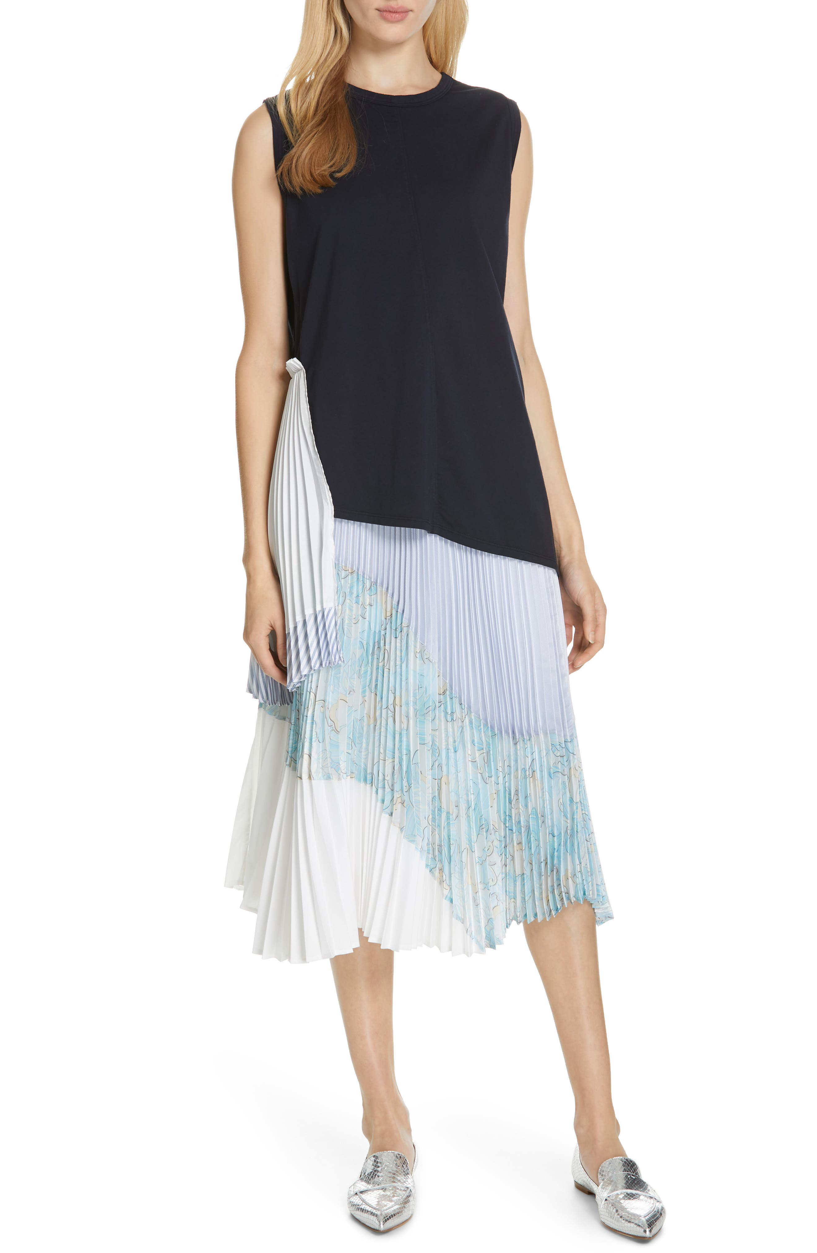 Floral Colorblock Pleated Skirt,                             Alternate thumbnail 7, color,                             BLUE