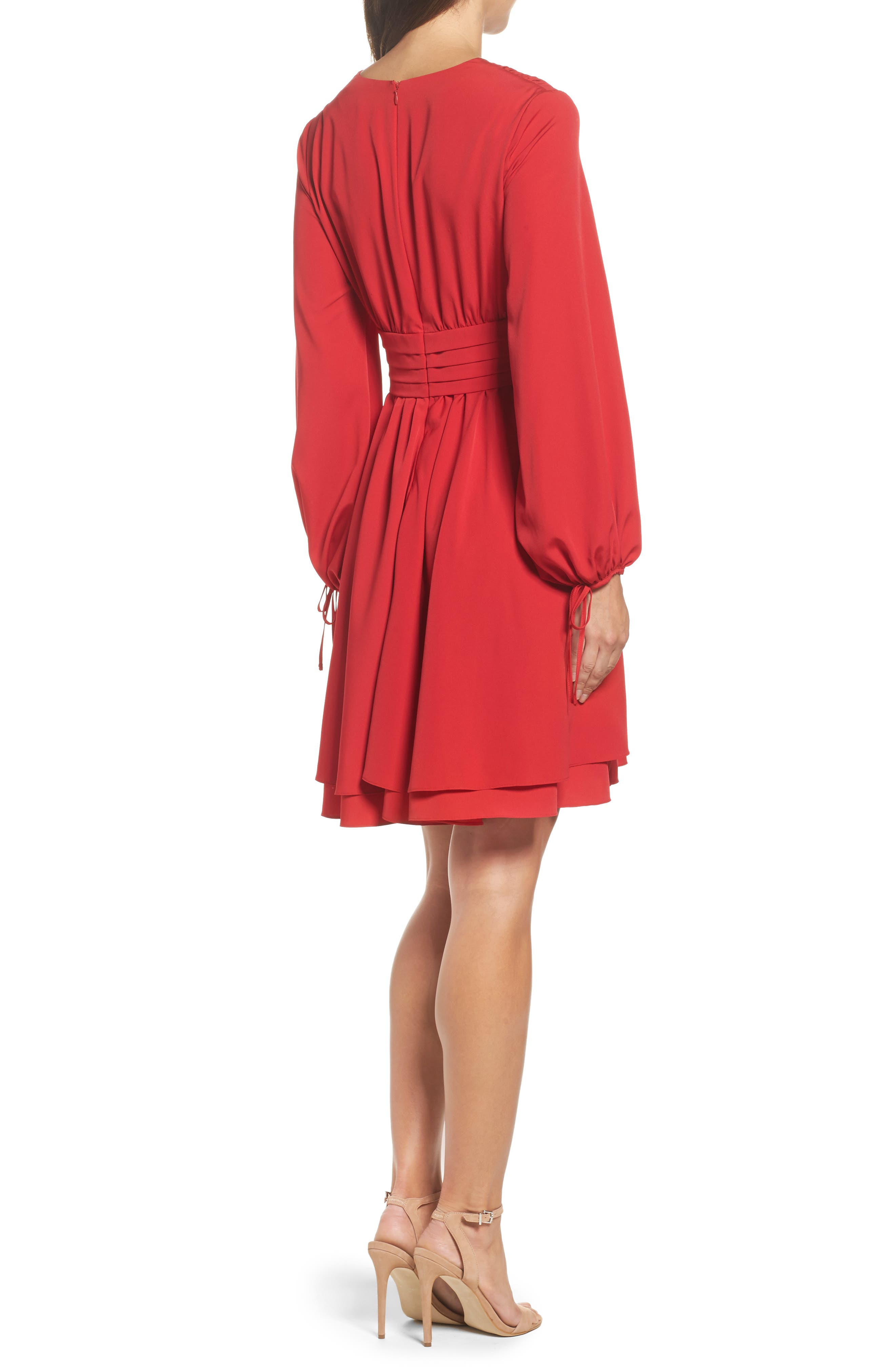 Tie Sleeve Fit & Flare Dress,                             Alternate thumbnail 2, color,                             610