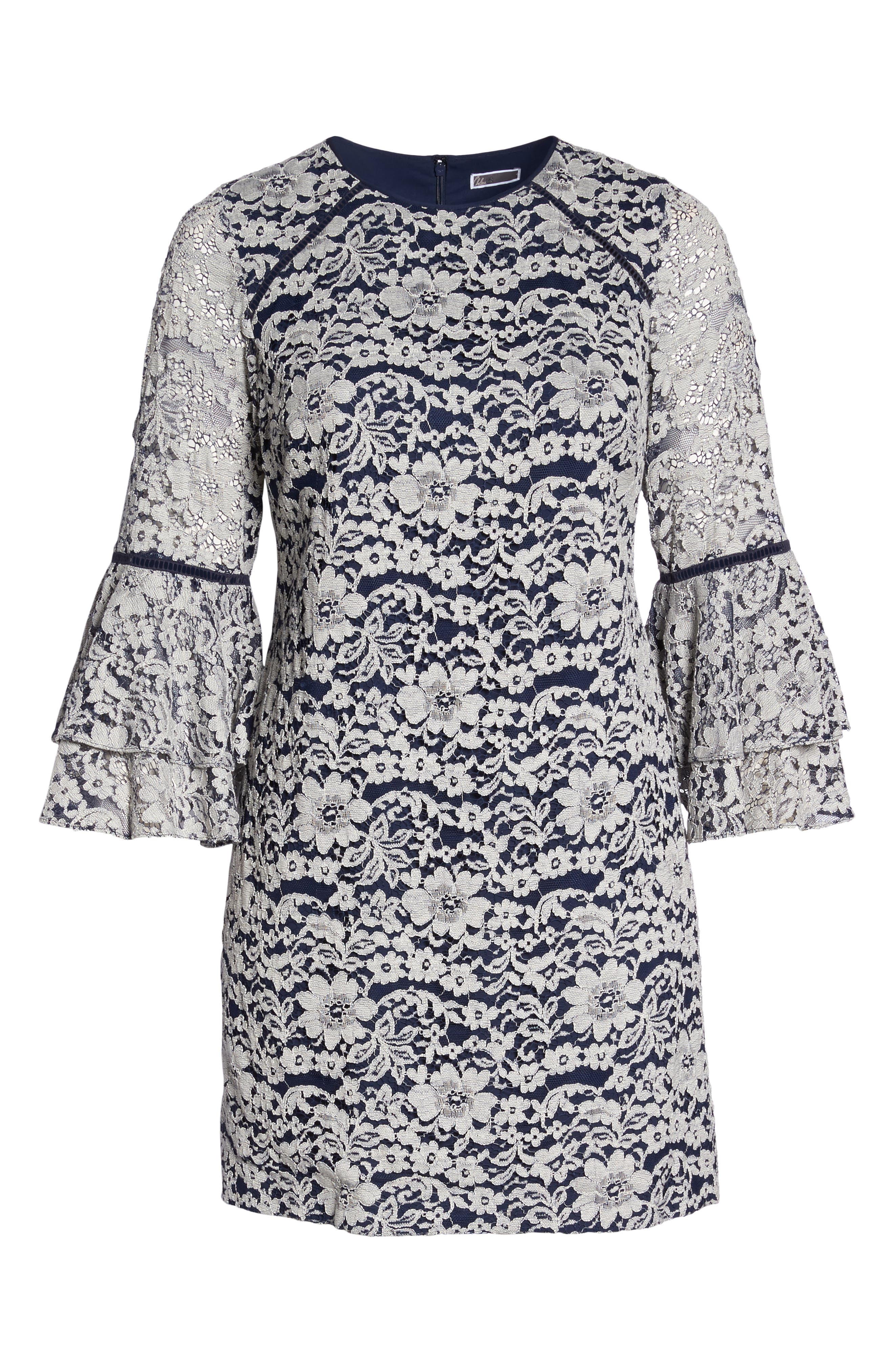 Lace Tier Bell Sleeve Shift Dress,                             Alternate thumbnail 6, color,                             401