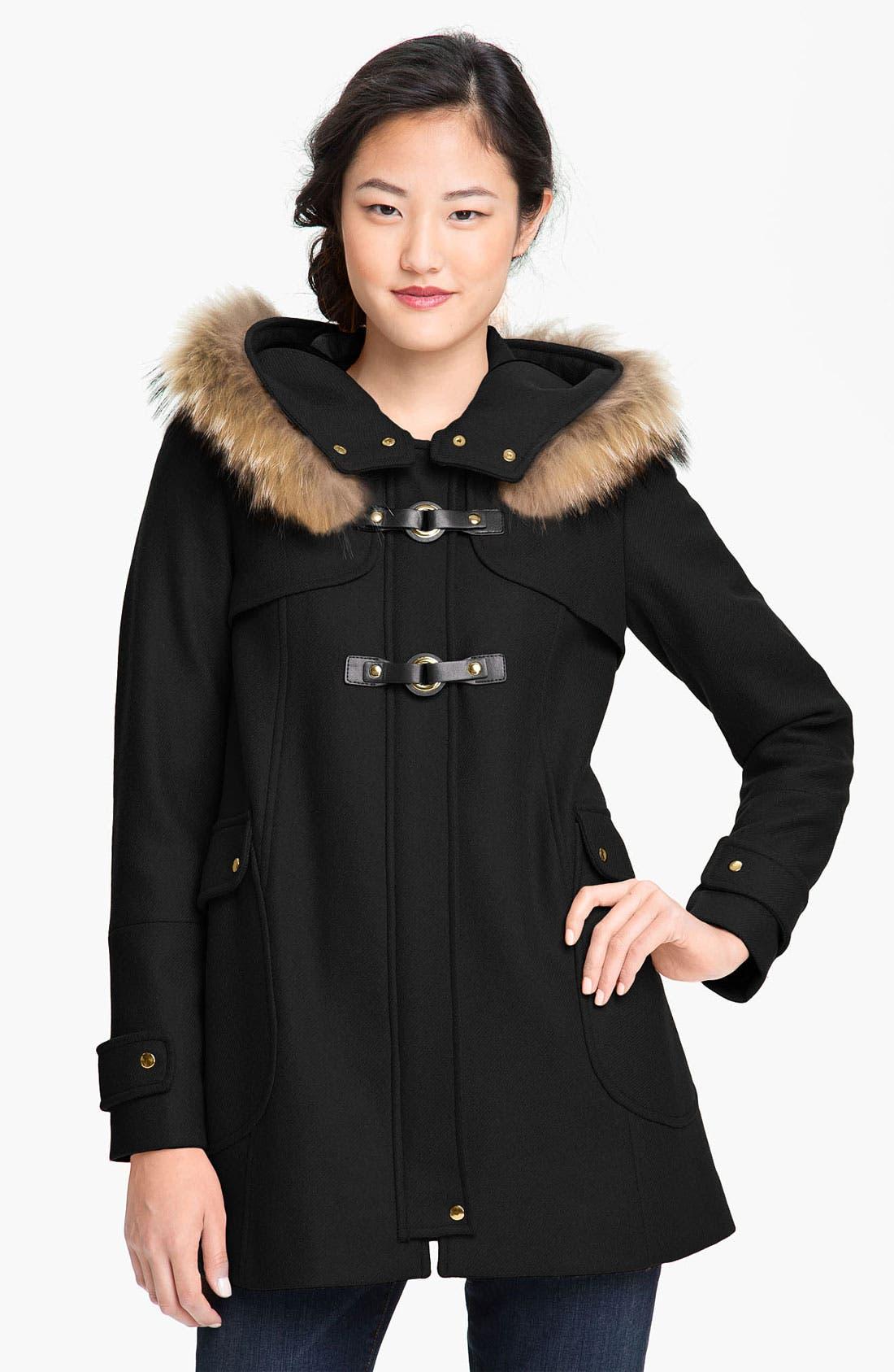 TRINA TURK,                             Hooded Duffle Coat with Genuine Coyote Fur Trim,                             Main thumbnail 1, color,                             001