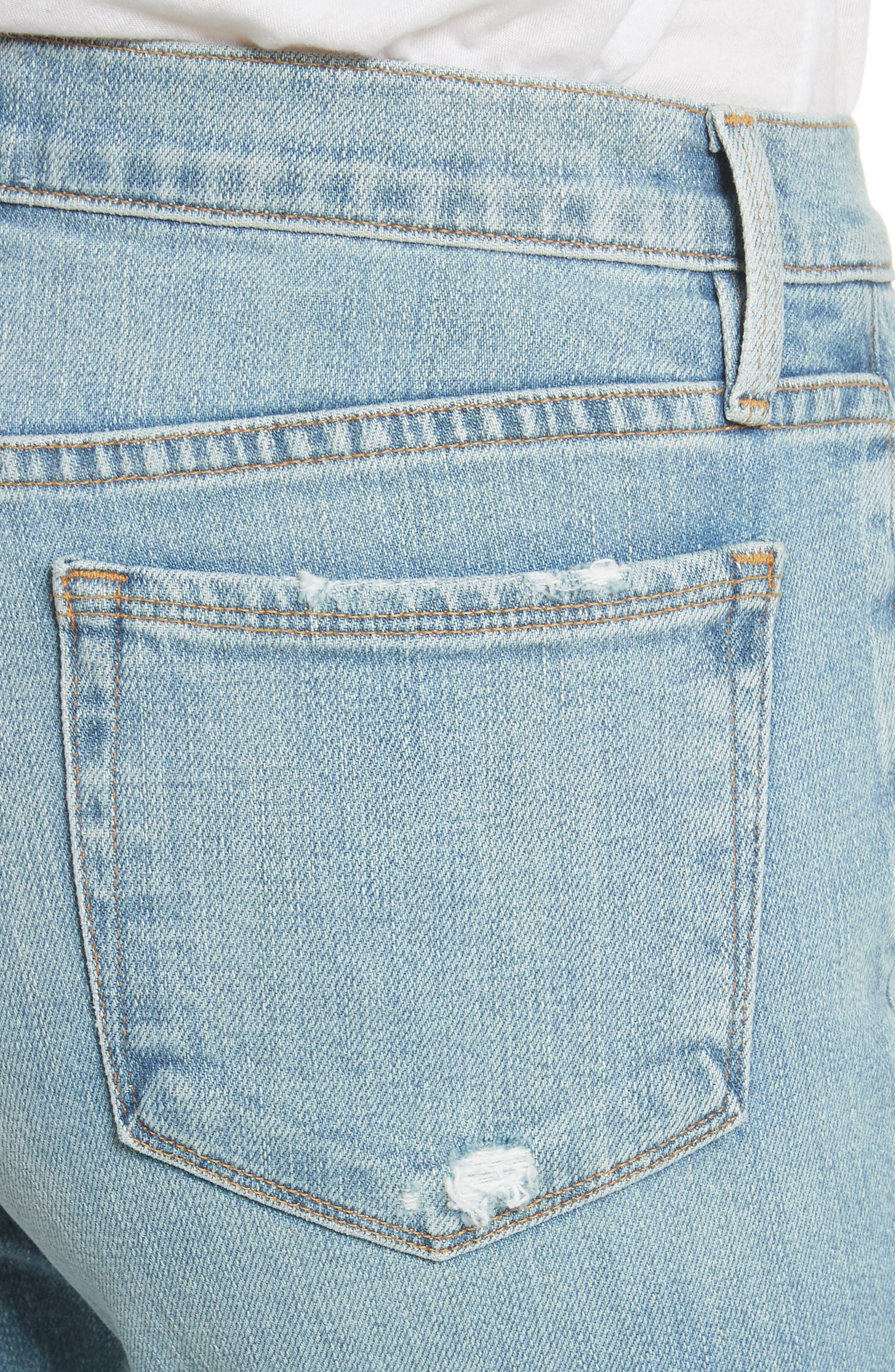 Le Nouveau Shredded Straight Leg Crop Jeans,                             Alternate thumbnail 4, color,                             450