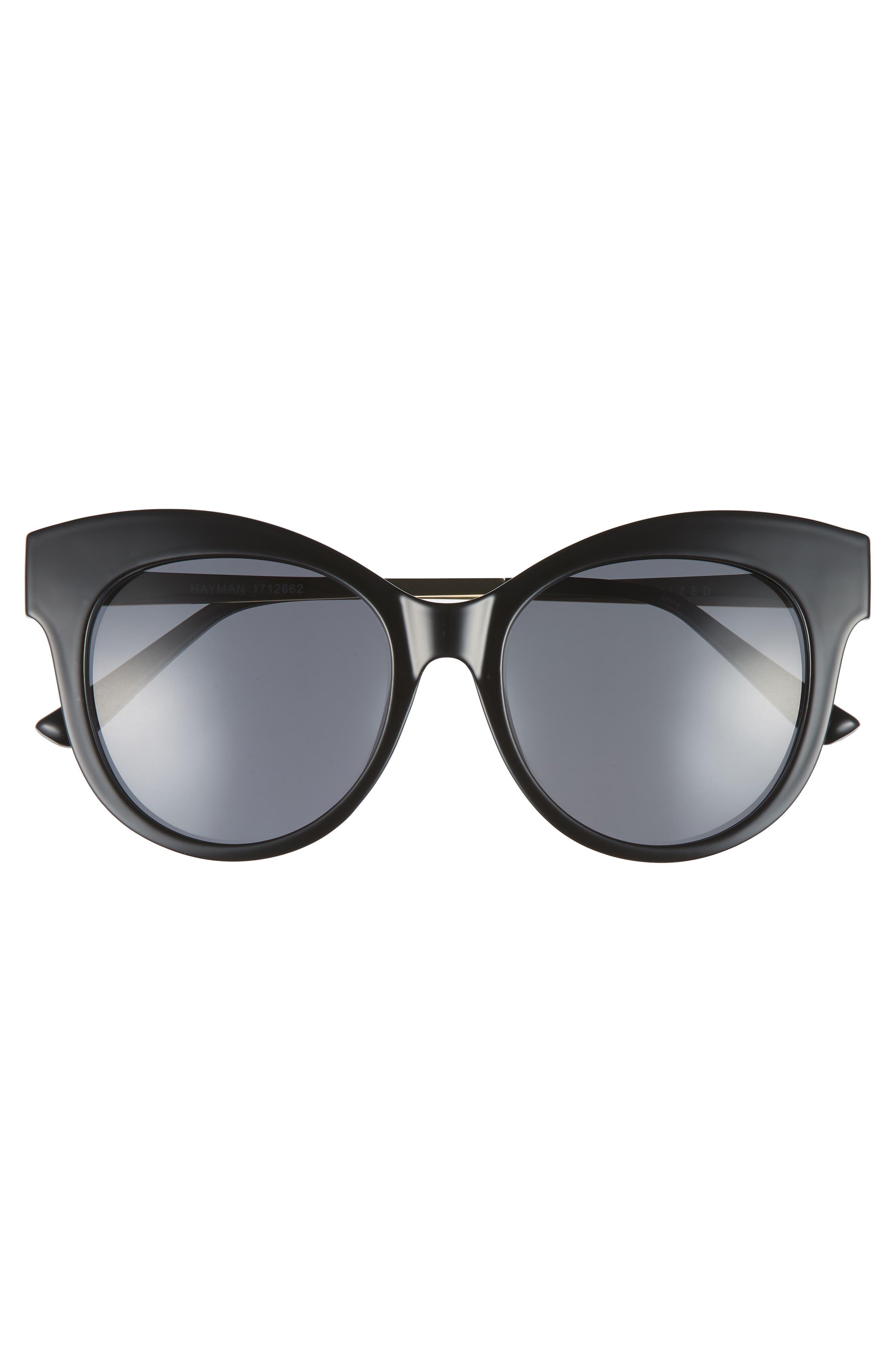 Hayman 53mm Cat Eye Sunglasses,                             Alternate thumbnail 3, color,                             BLACK