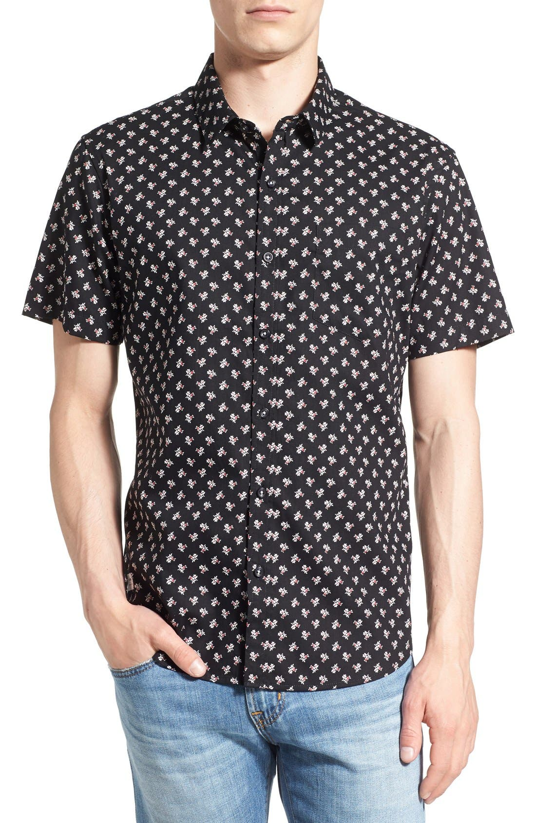 'Crossfire' Floral Print Short Sleeve Woven Shirt,                             Main thumbnail 2, color,