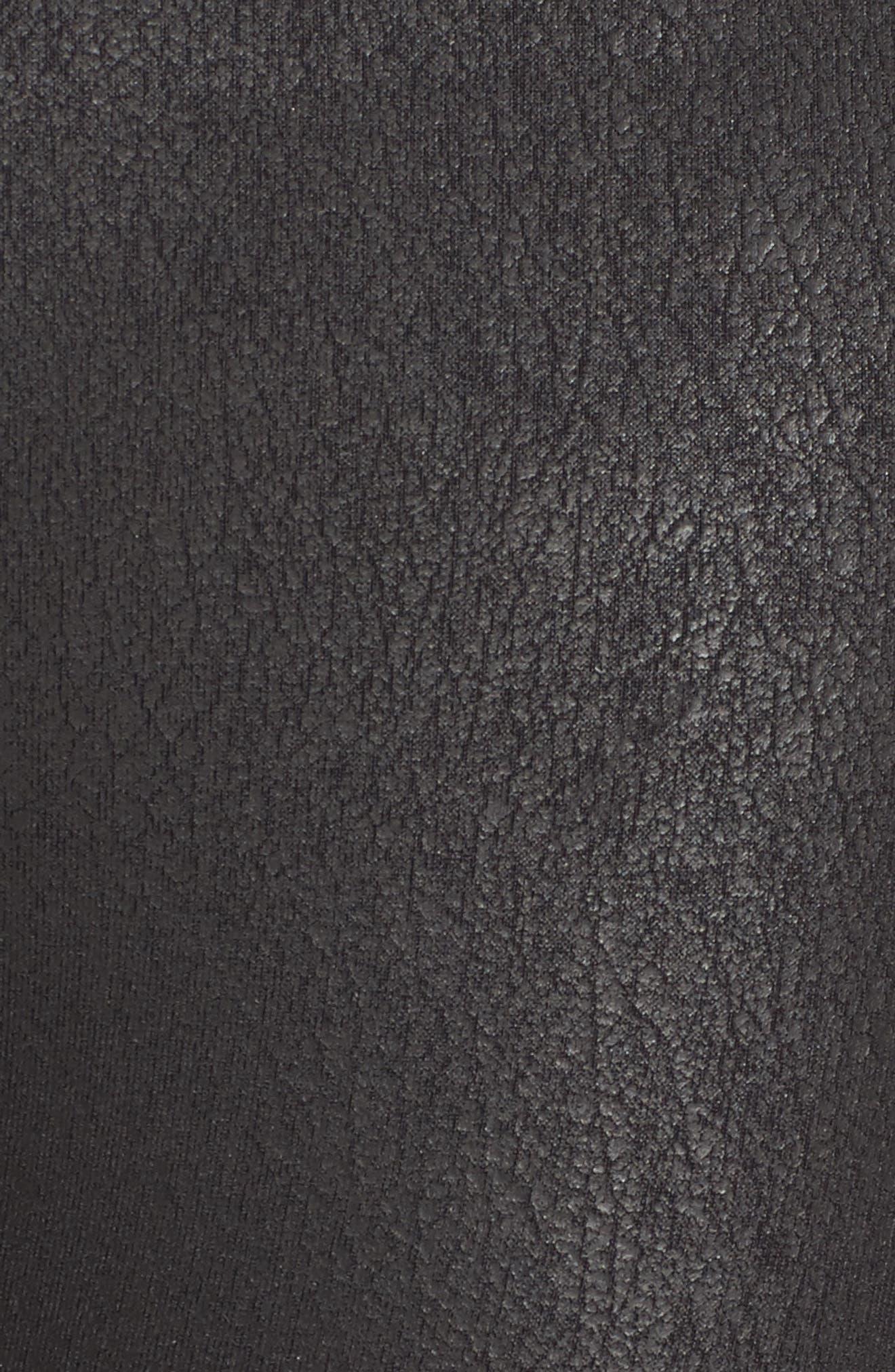 High Waist Moto Leggings,                             Alternate thumbnail 6, color,                             BLACK PERFORMANCE LEATHER