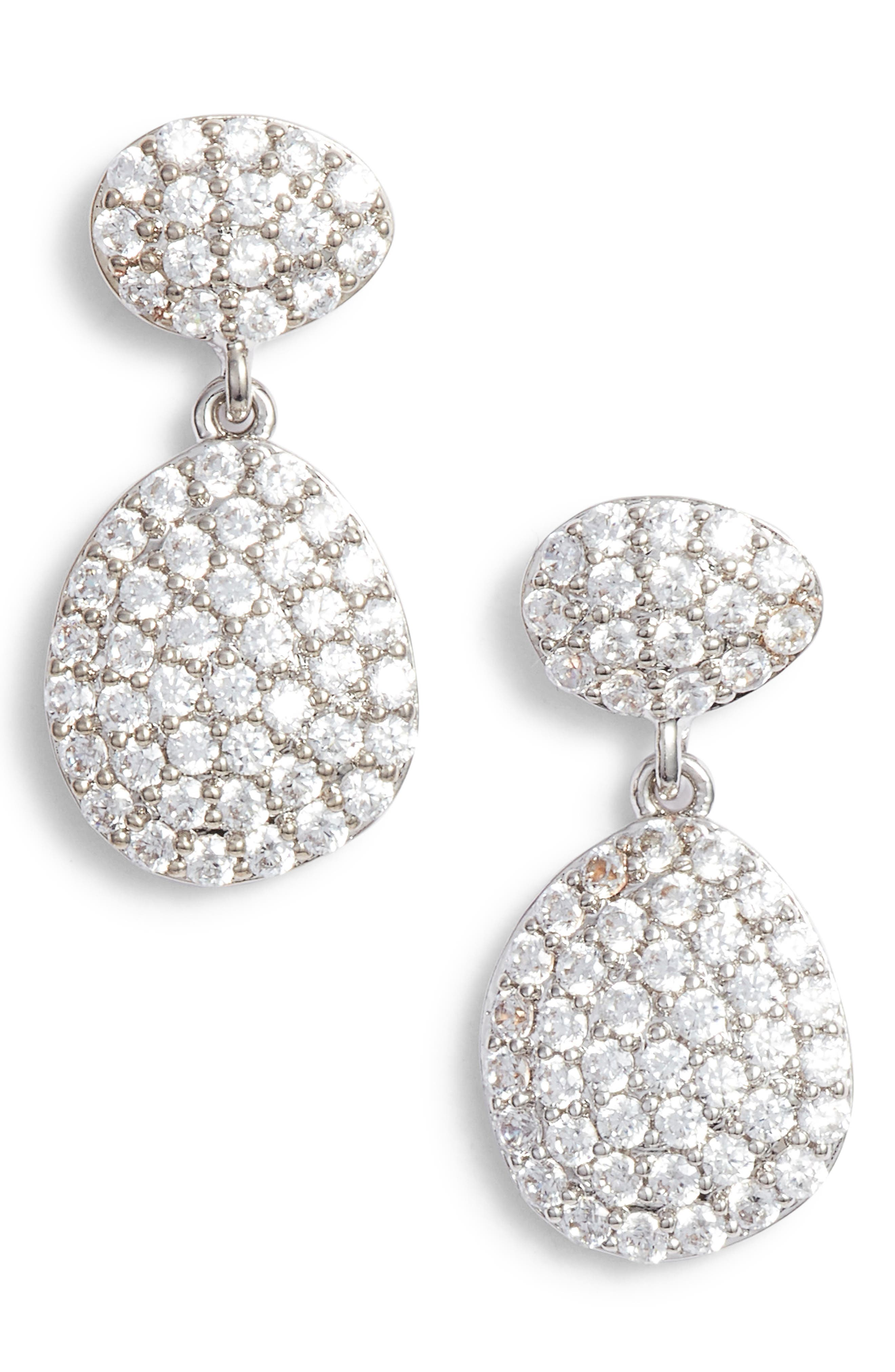 NORDSTROM Pavé Spheres Teardrop Earrings, Main, color, 040