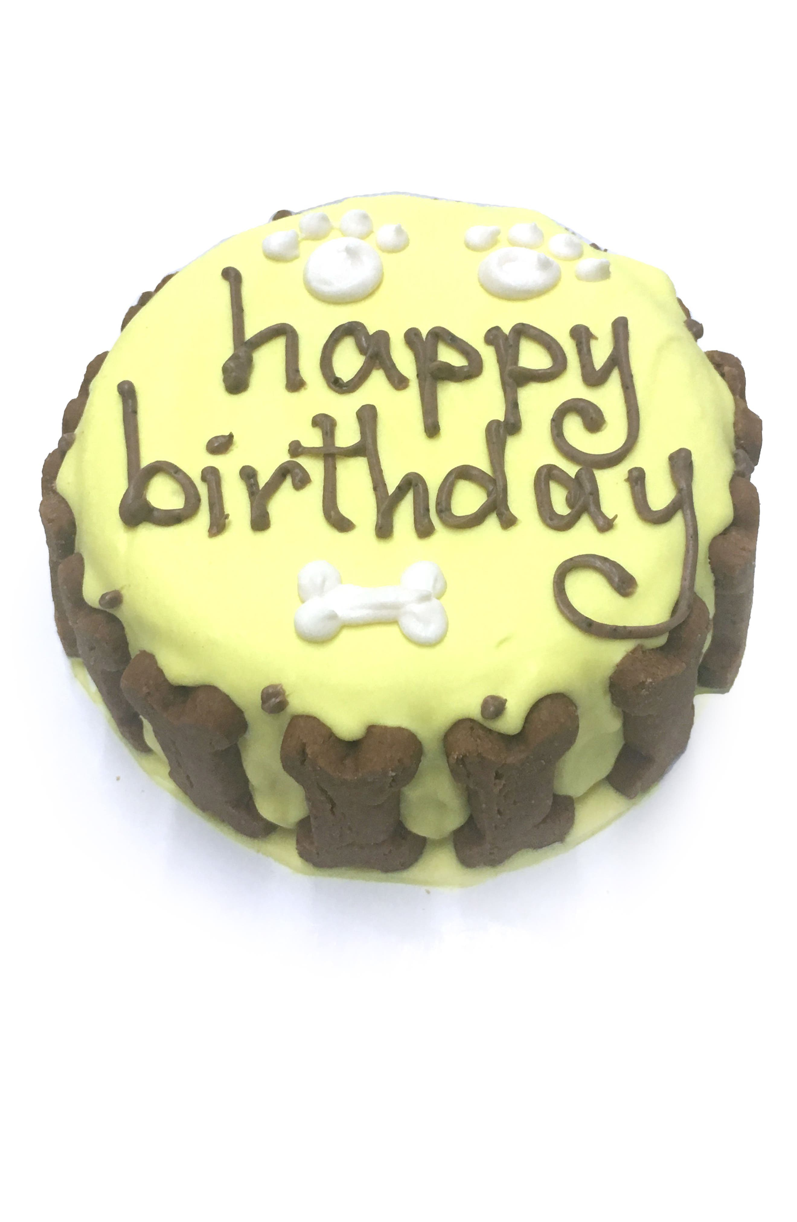 Bubba Rose Biscuit Company Yellow Classic Birthday Cake Dog Treat,                             Main thumbnail 1, color,                             YELLOW