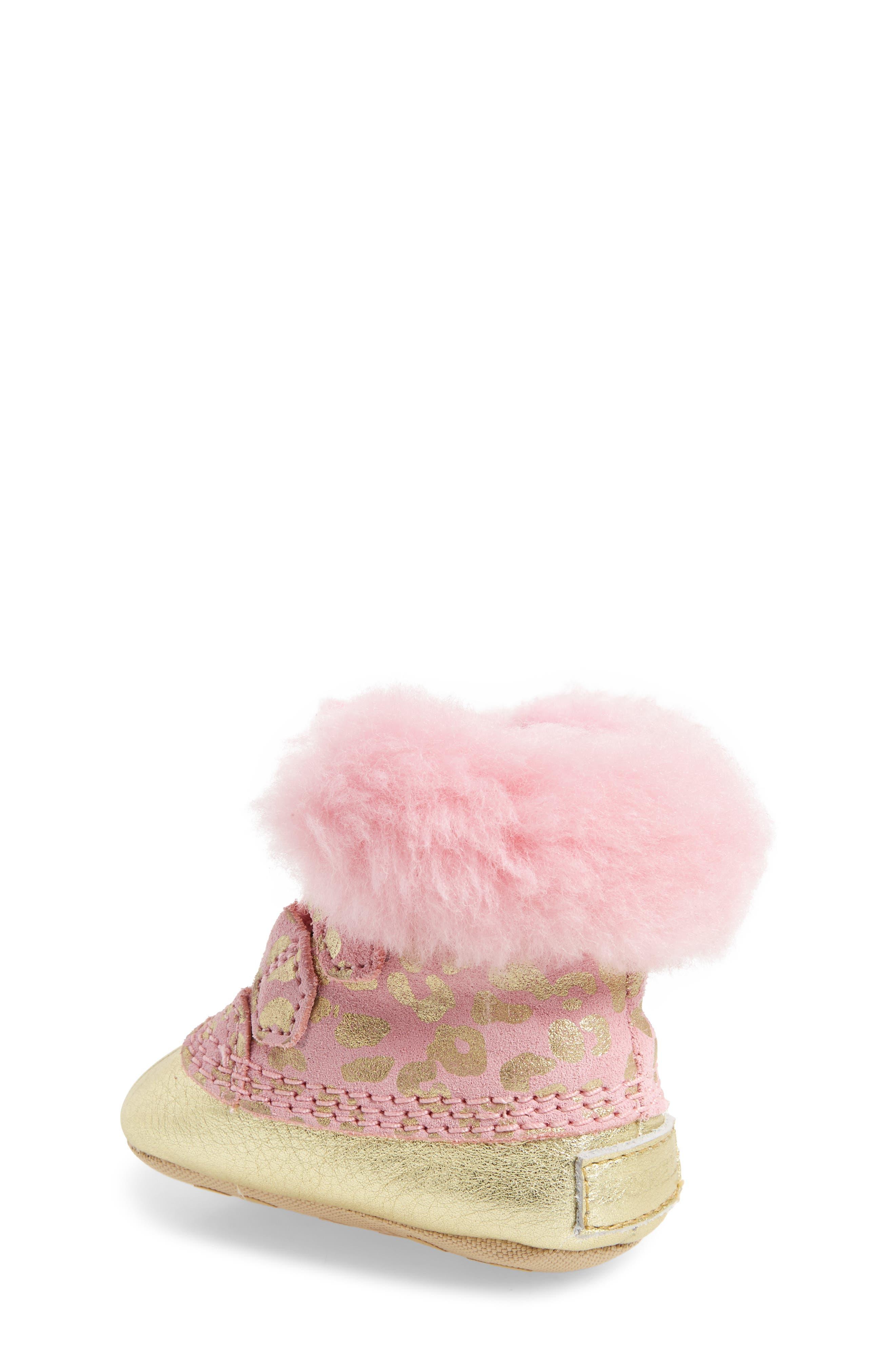 Caribootie Genuine Shearling Crib Shoe,                             Alternate thumbnail 12, color,