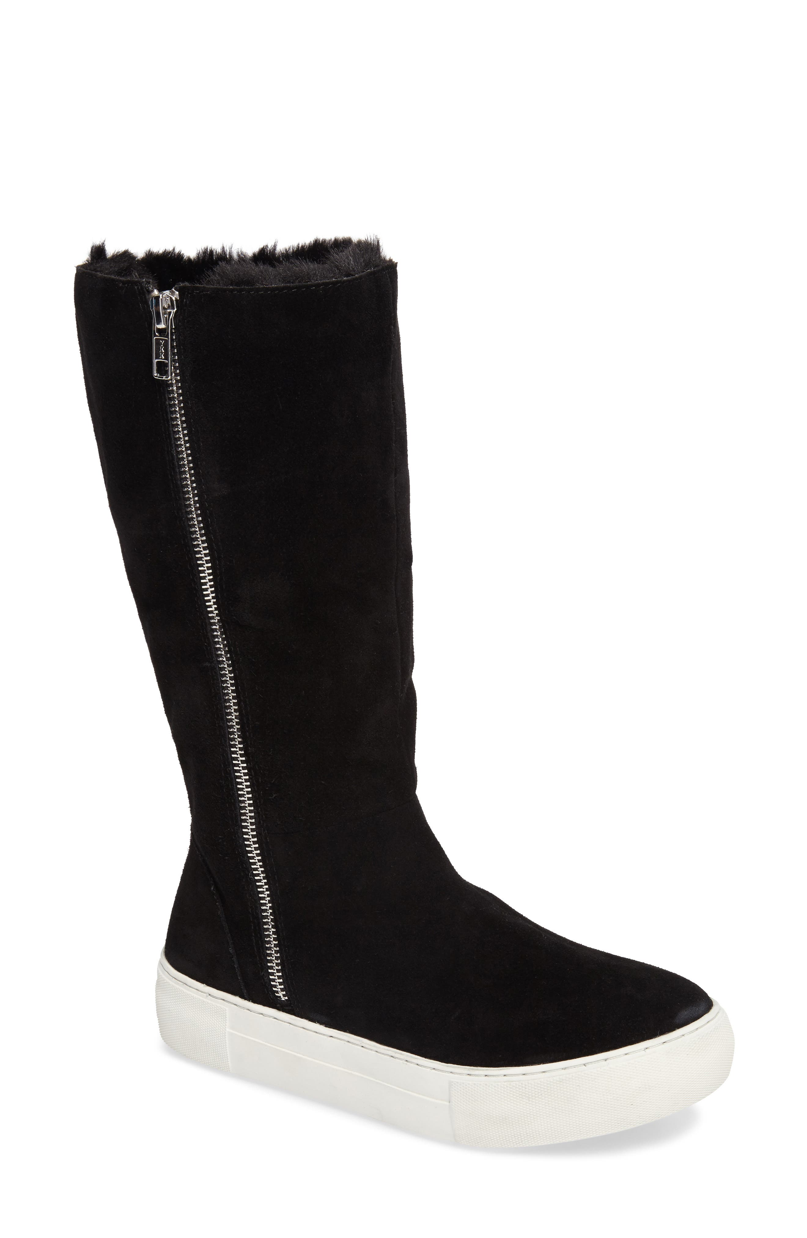 Apple Faux Shearling Boot,                             Alternate thumbnail 2, color,                             BLACK SUEDE