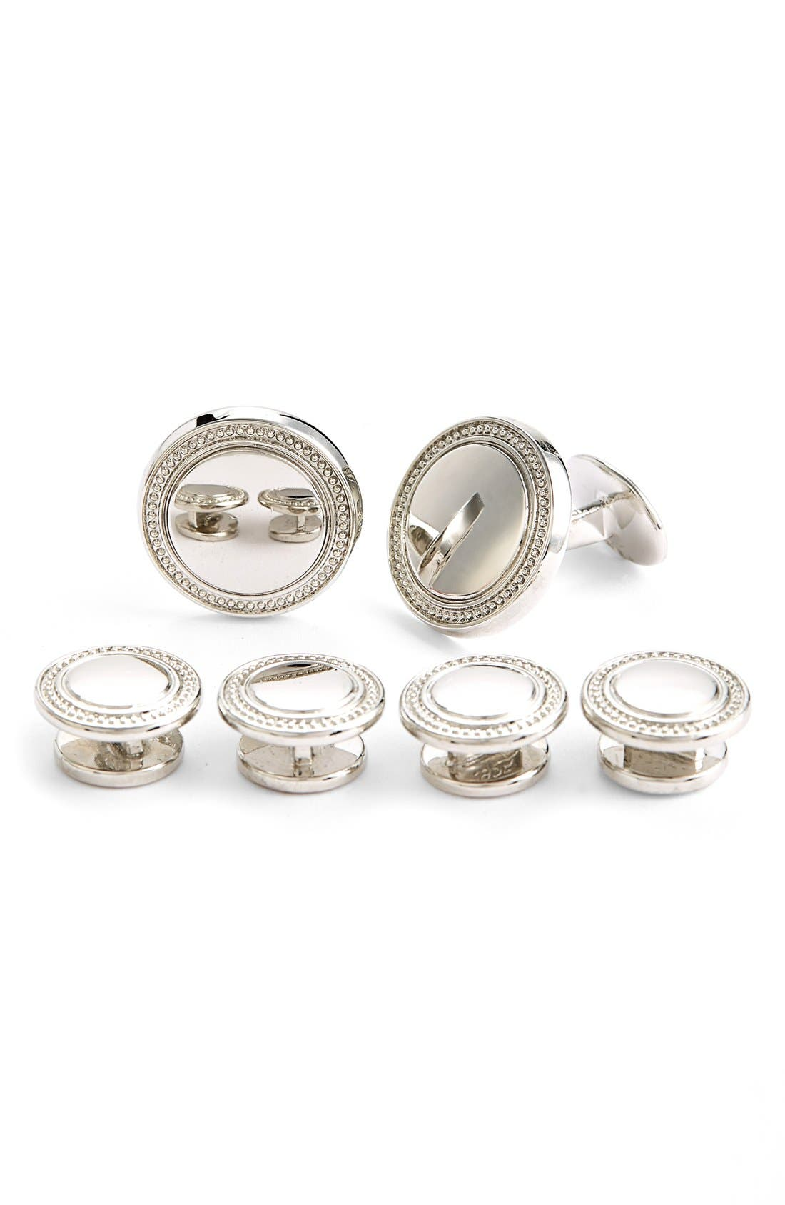 Sterling Silver Cuff Link & Stud Set,                             Main thumbnail 1, color,