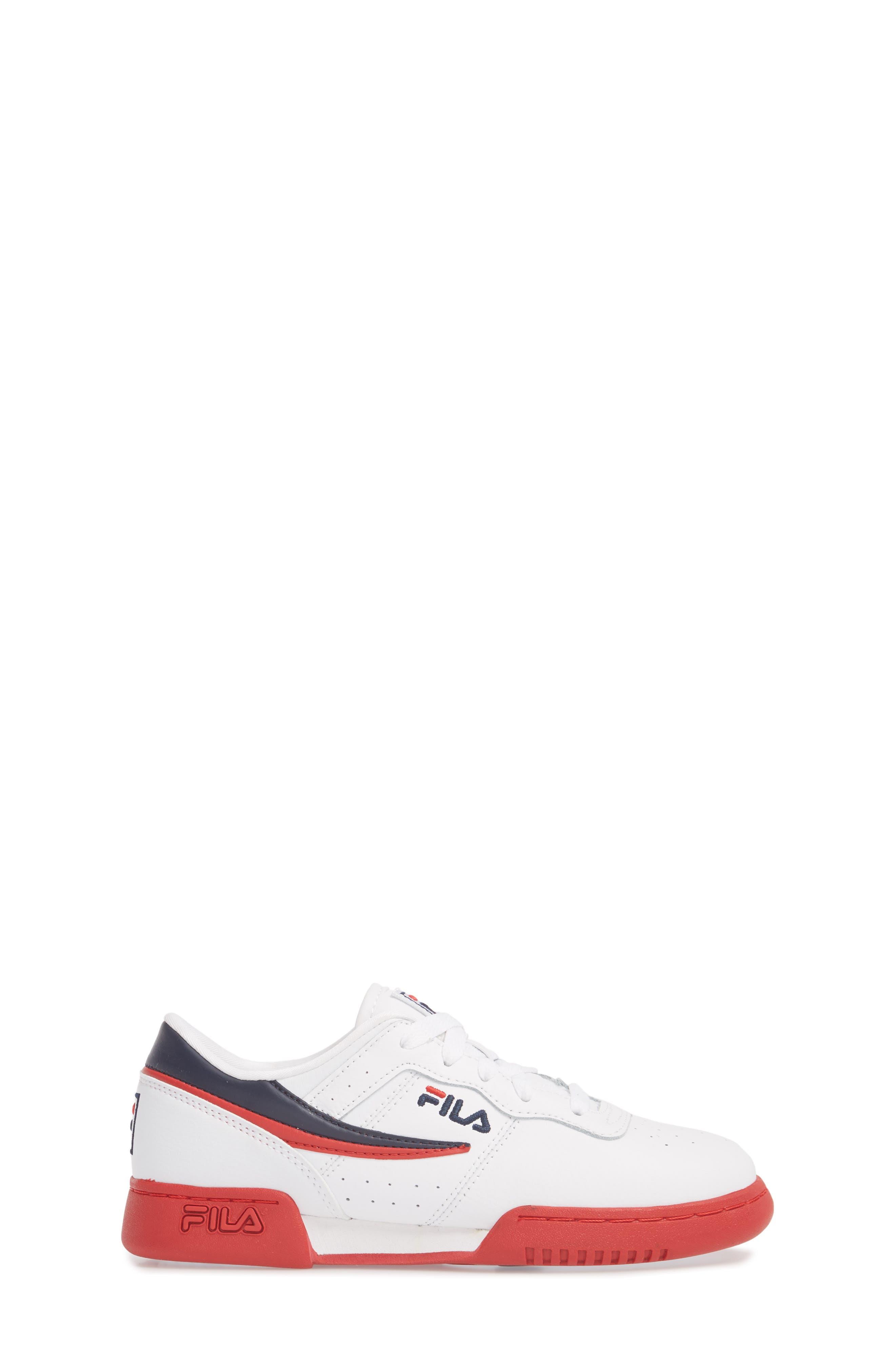 Original Fitness Sneaker,                             Alternate thumbnail 3, color,                             WHITE/ FILA RED