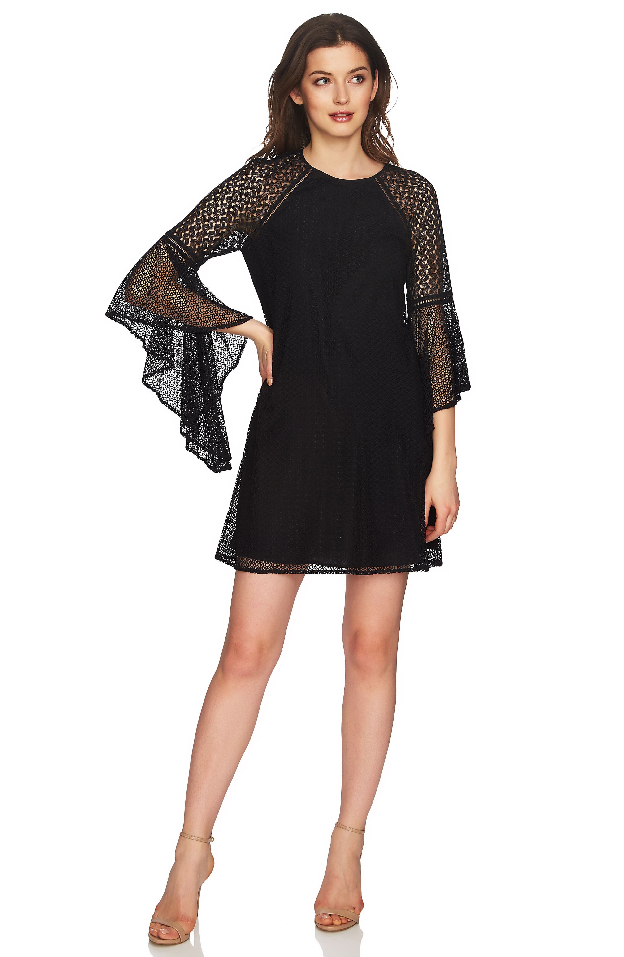 Keira Bell Sleeve Lace A-Line Dress,                             Alternate thumbnail 3, color,                             001