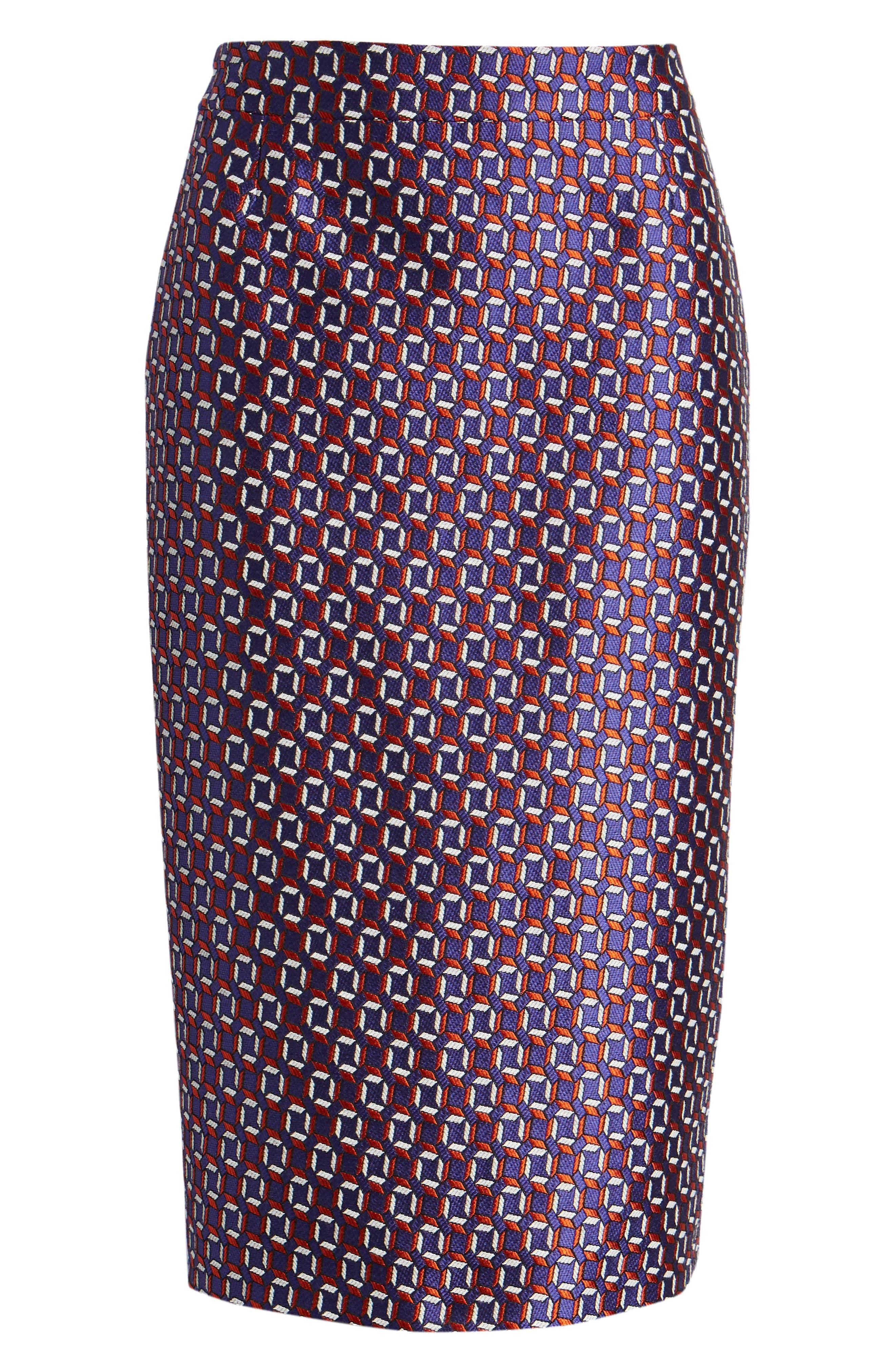 Varines Jacquard Pencil Skirt,                             Alternate thumbnail 6, color,                             575