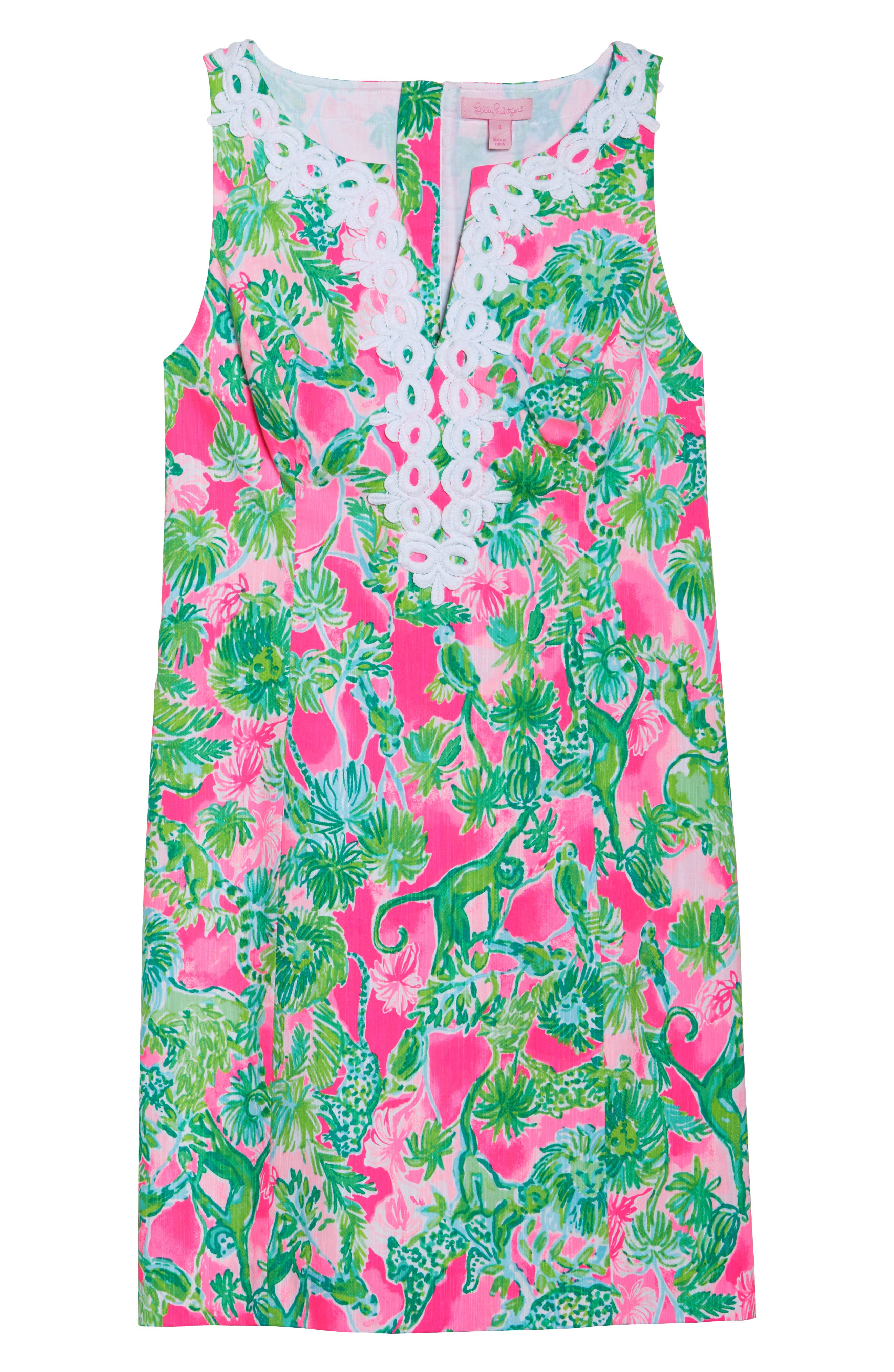 Gabby Tropical Print Dress,                             Alternate thumbnail 8, color,                             RAZ BERRY CATTY SHACK