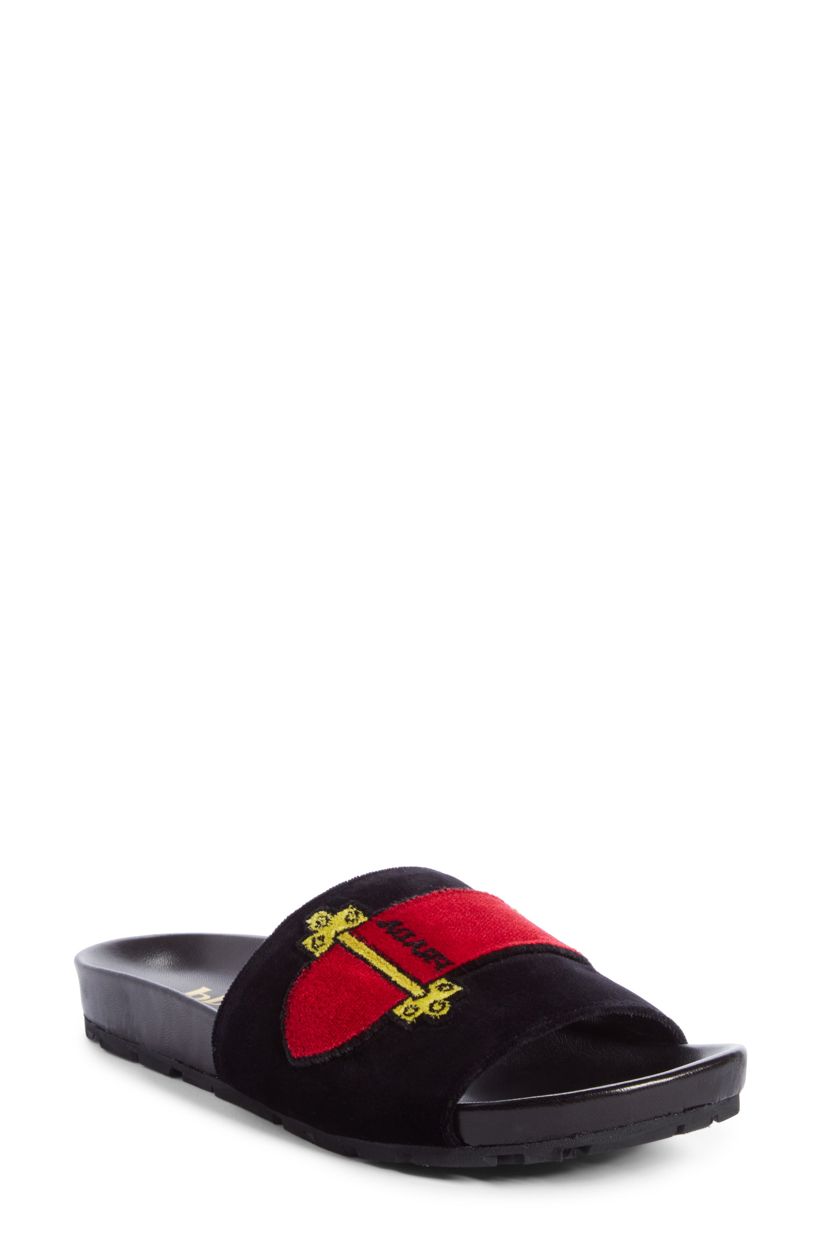 PRADA Logo Slide Sandal, Main, color, 001