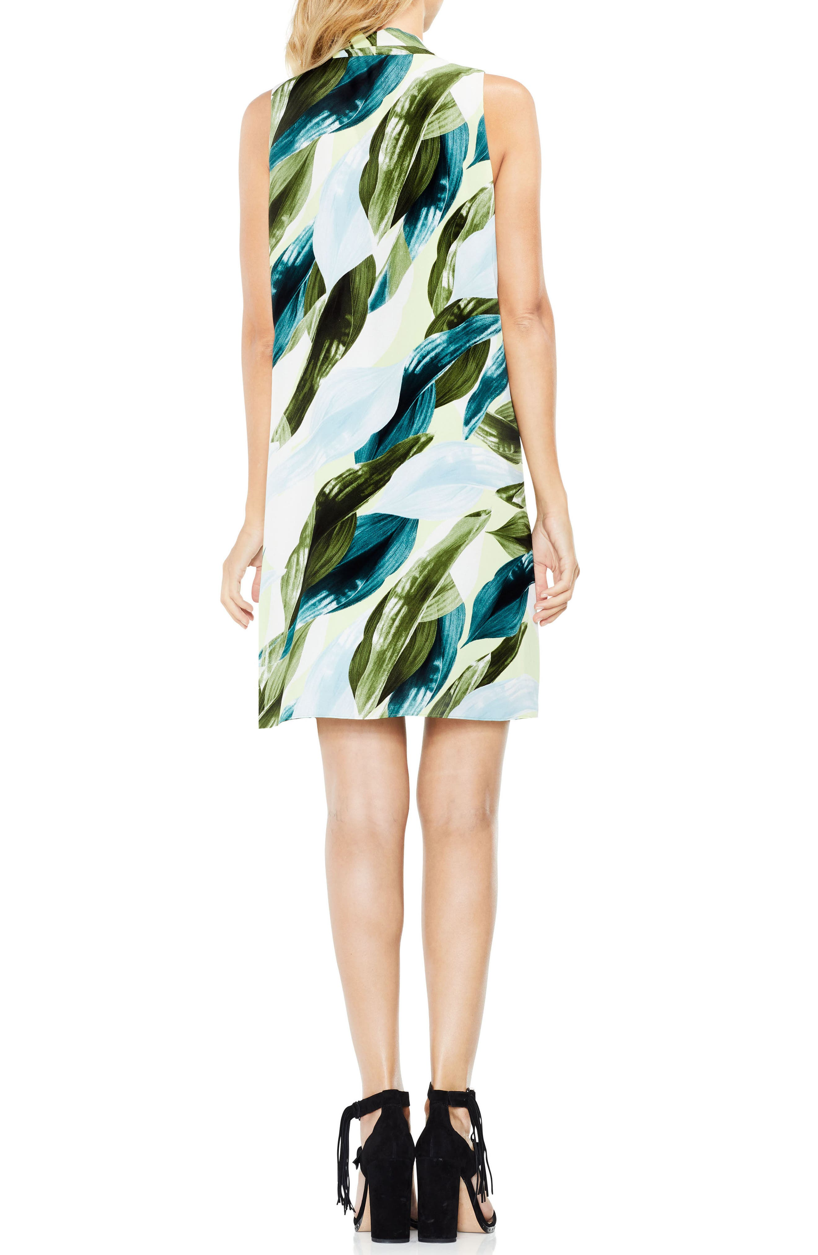 Breezy Leaves Inverted Pleat Dress,                             Alternate thumbnail 2, color,                             108