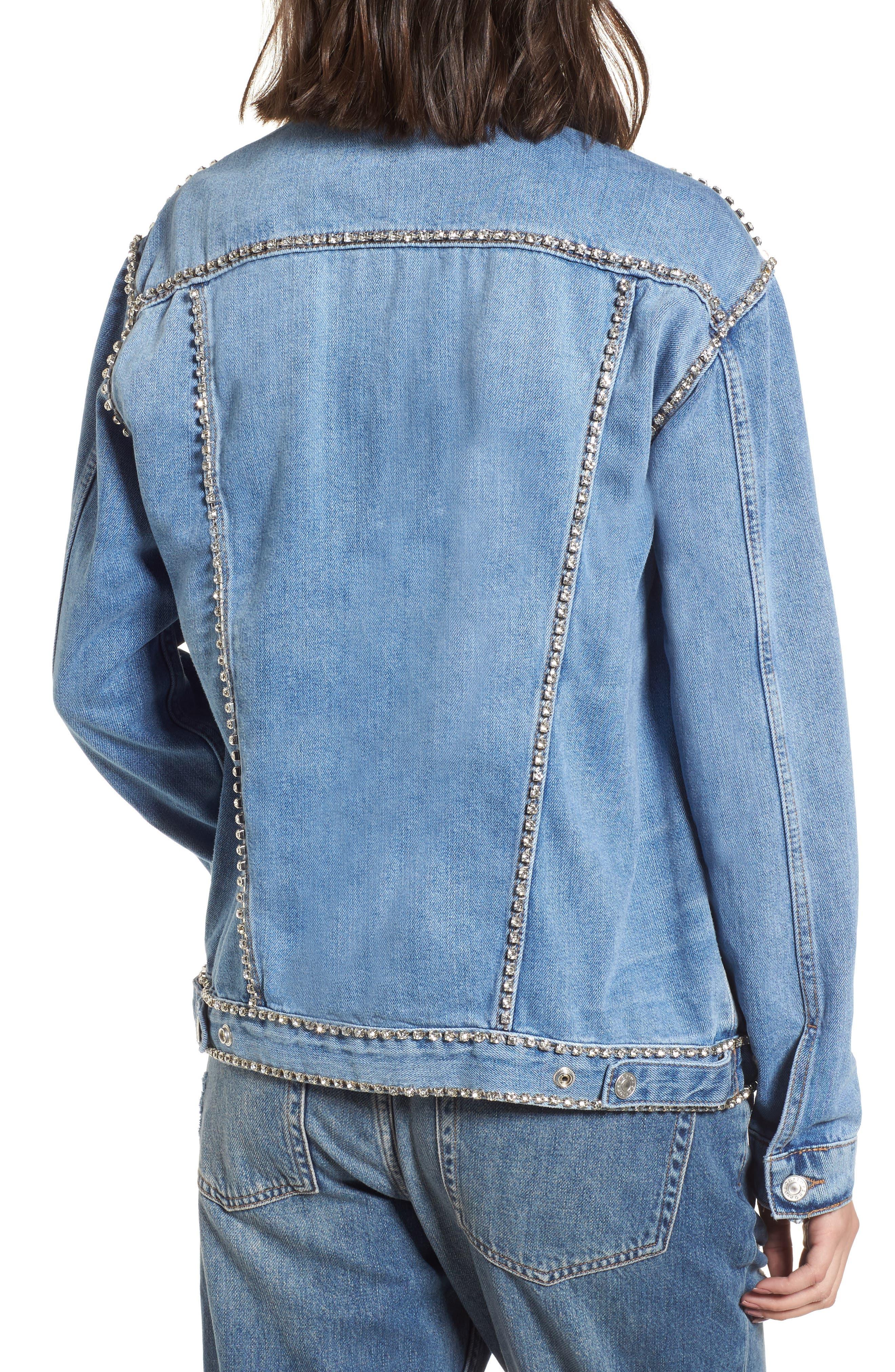 Oversize Crystal Seam Denim Jacket,                             Alternate thumbnail 2, color,                             400