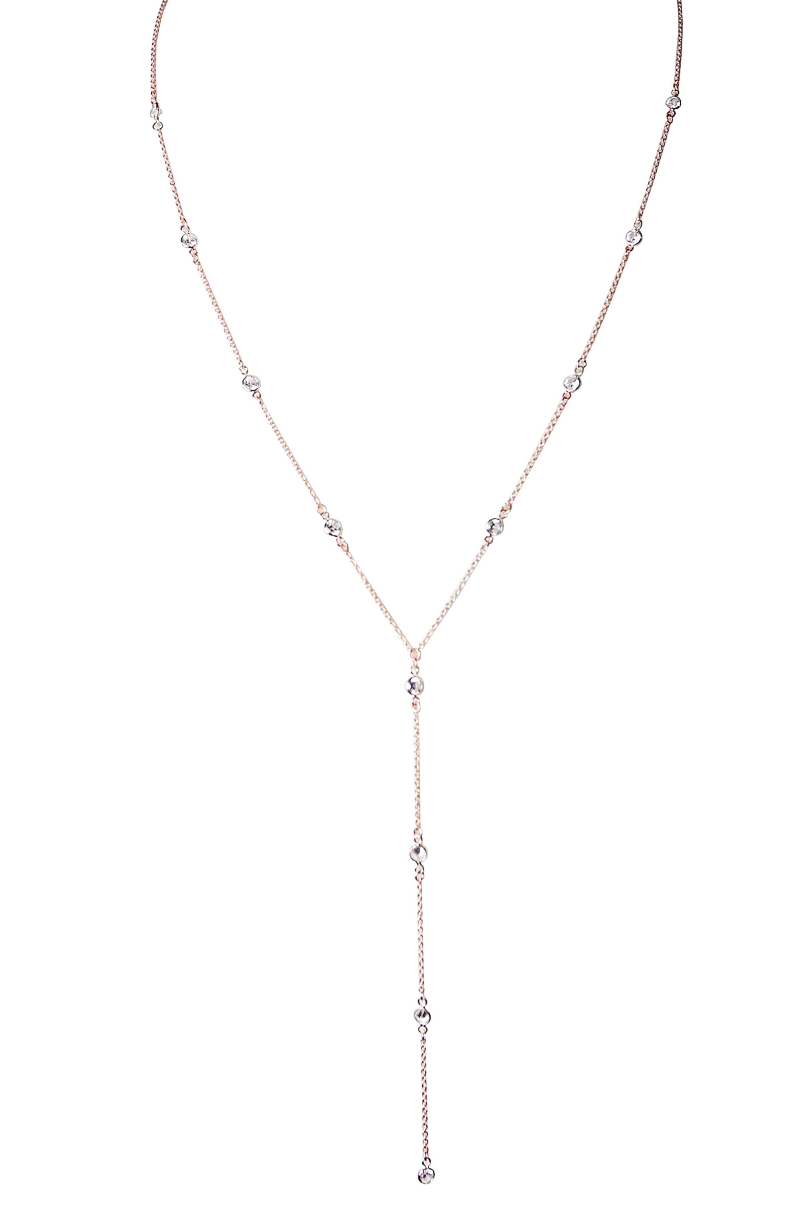 JULES SMITH,                             Isabella Crystal Y Necklace,                             Main thumbnail 1, color,                             ROSE GOLD