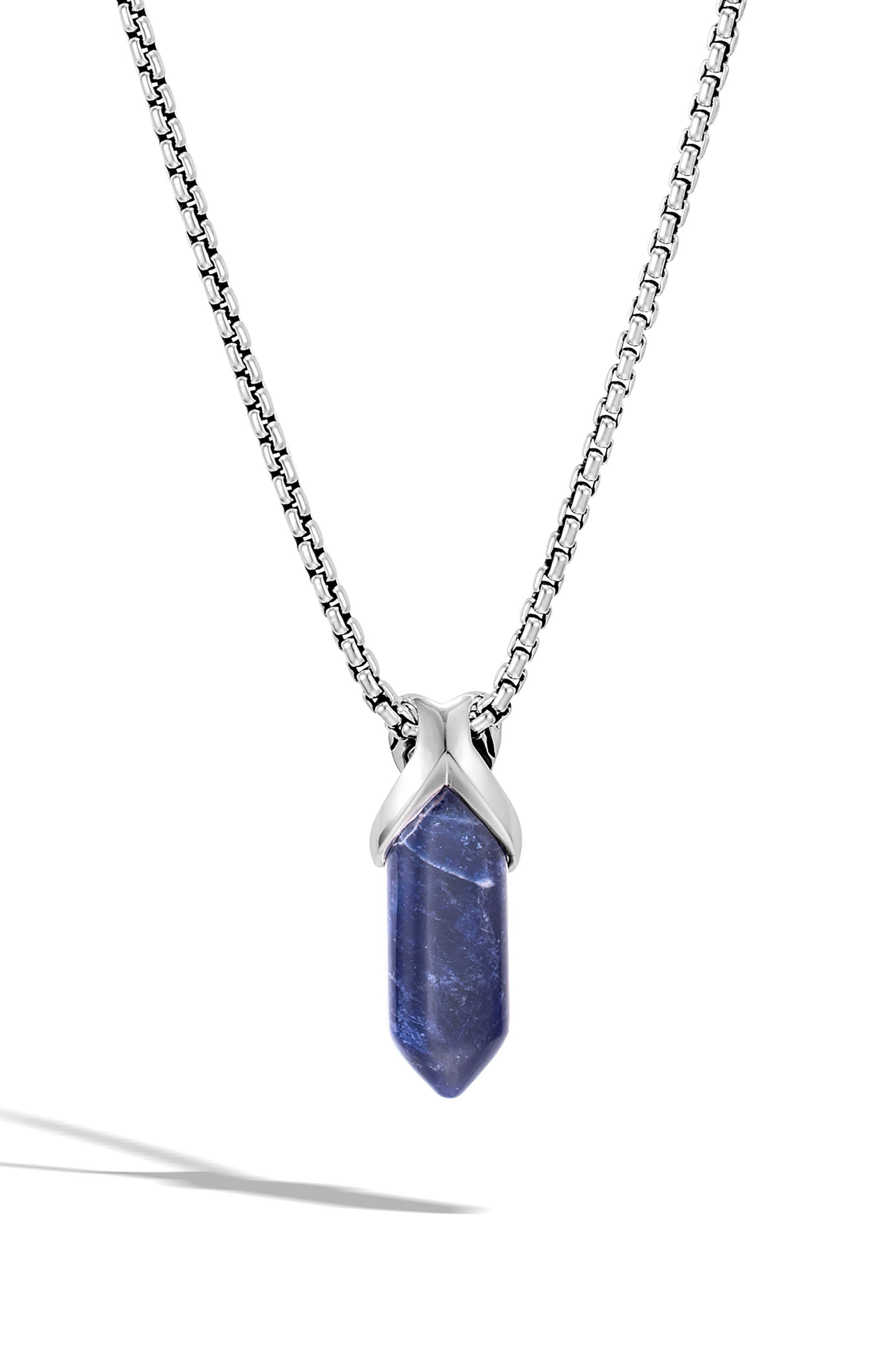 Men's Asli Classic Chain Reversible Pendant Necklace,                         Main,                         color, SILVER/ SODALITE