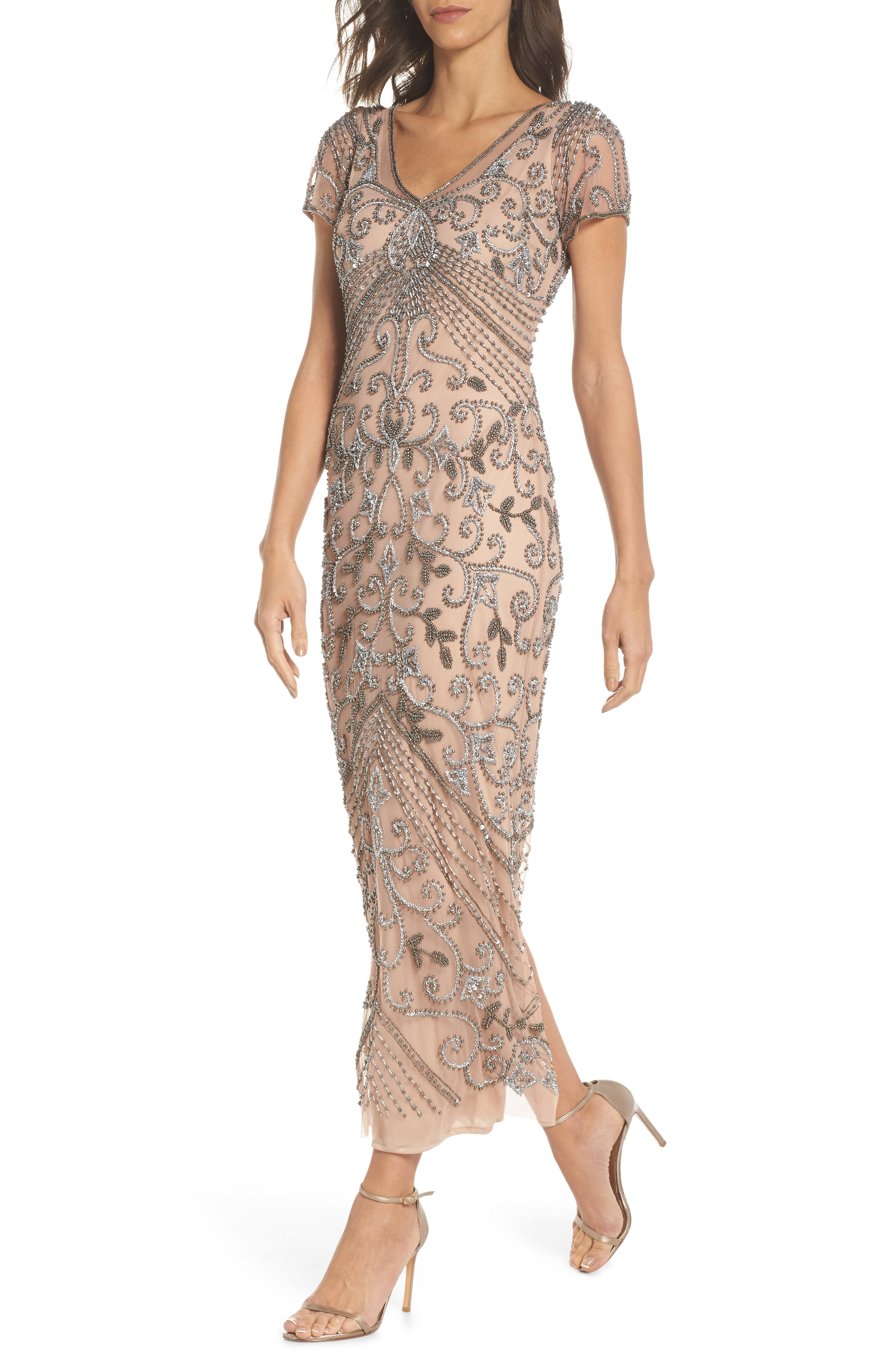PISARRO NIGHTS,                             Beaded Longline Gown,                             Main thumbnail 1, color,                             ROSE
