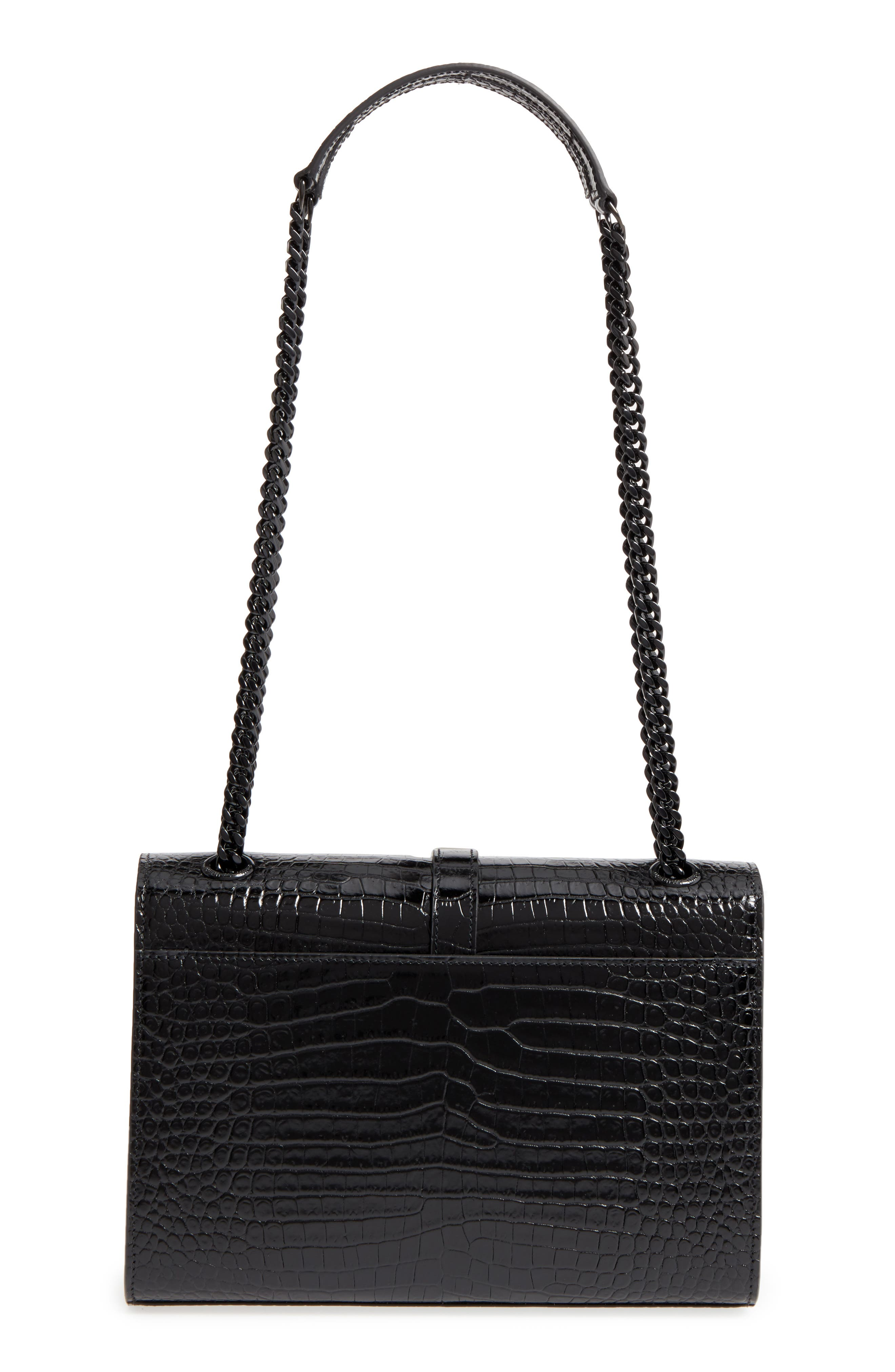 Medium Croc-Embossed Calfskin Shoulder Bag,                             Alternate thumbnail 3, color,                             001