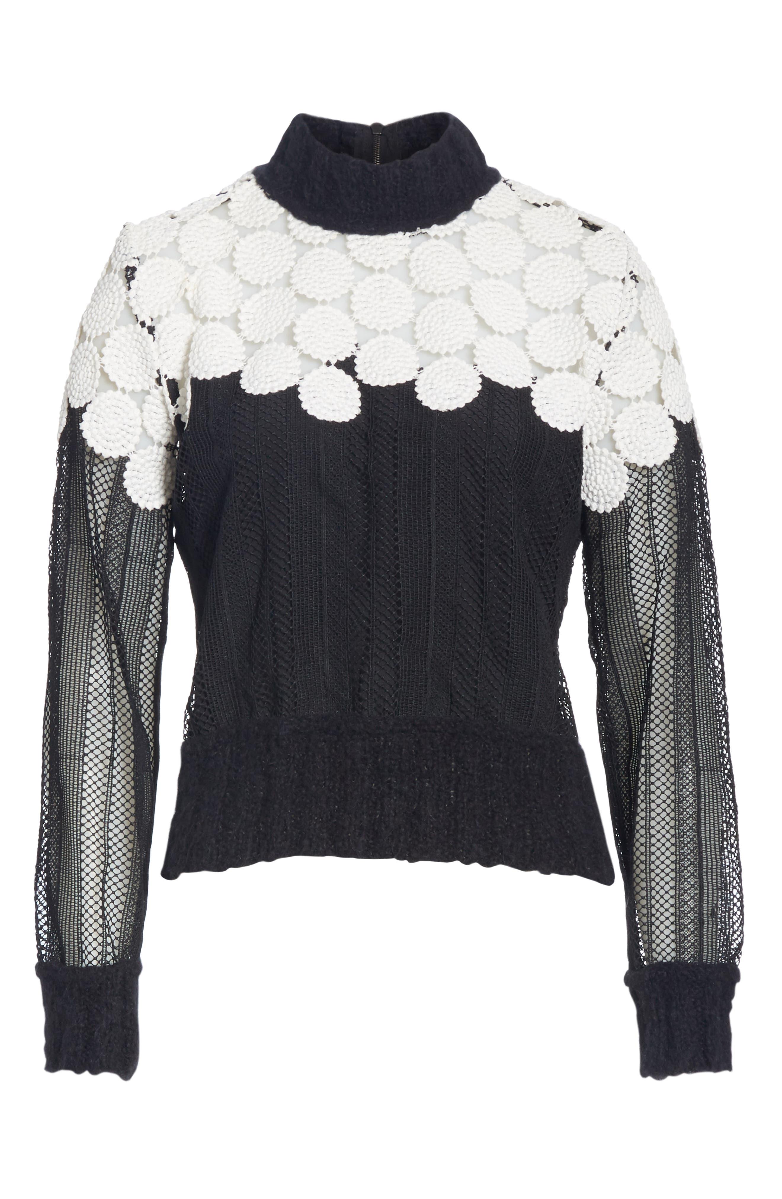 Penelope Mixed Media Sweatshirt,                             Alternate thumbnail 6, color,                             001