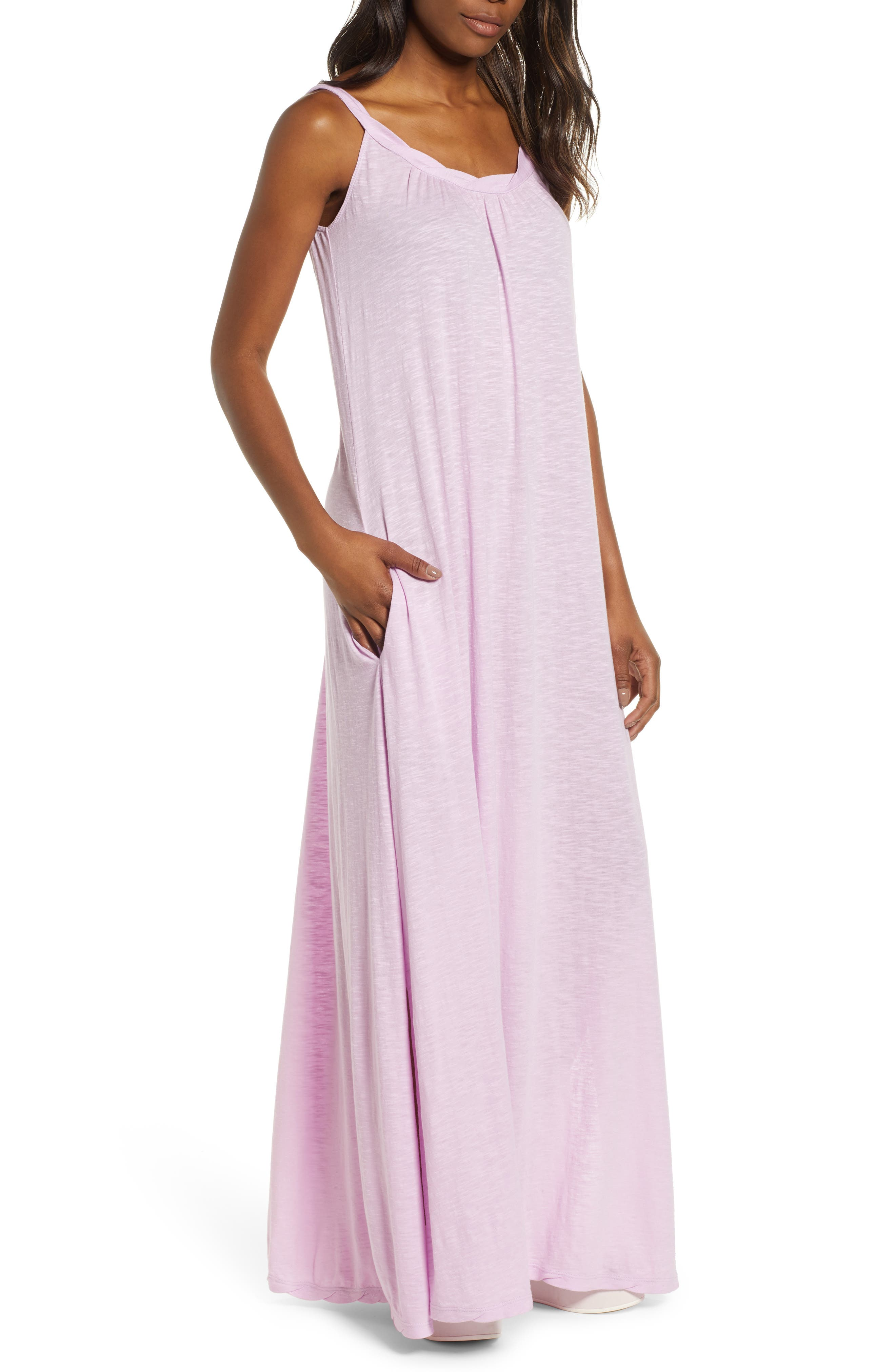 Petite Caslon Twist Neck Maxi Dress, Purple