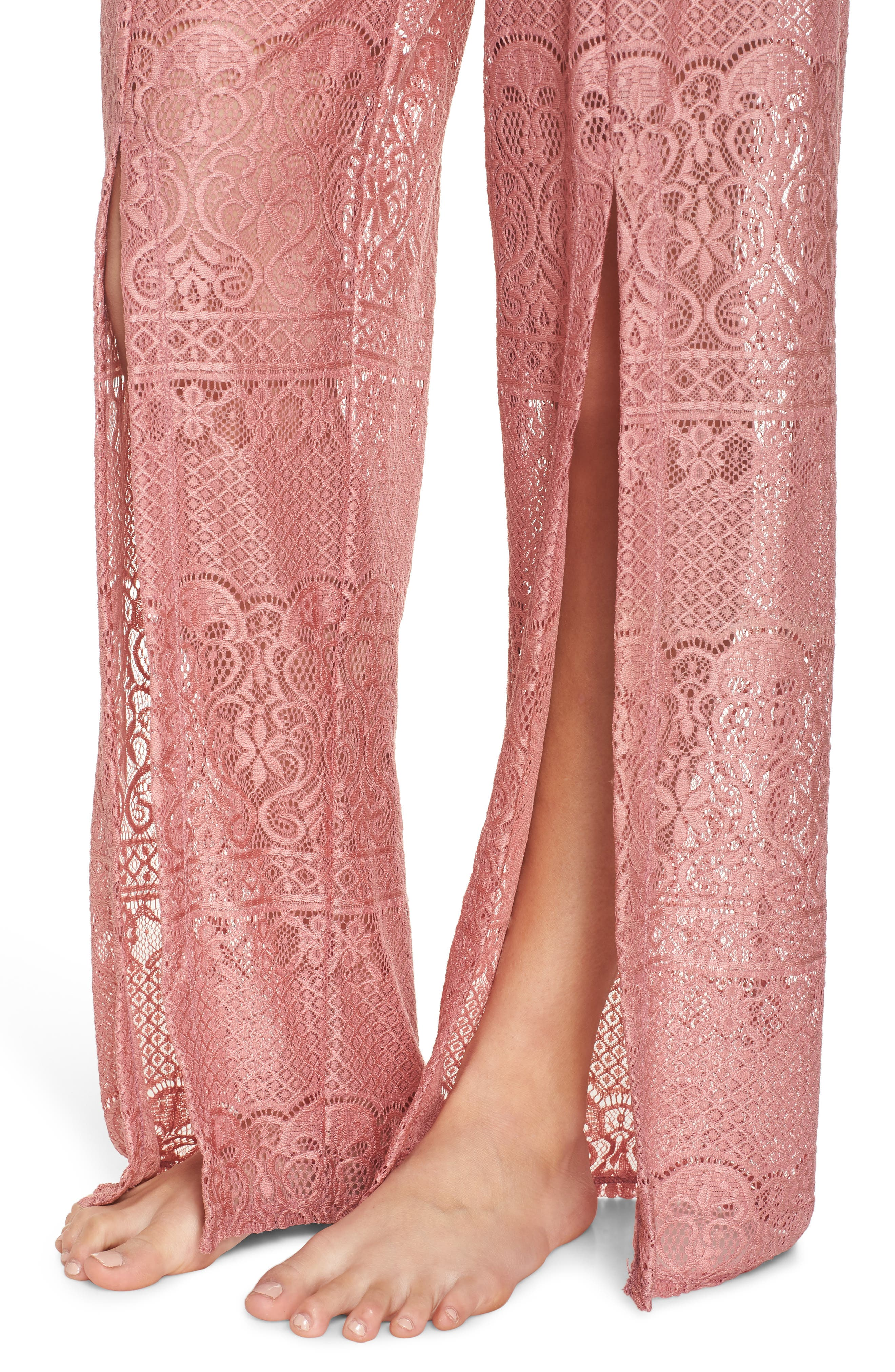 About Lace Cover-Up Pants,                             Alternate thumbnail 4, color,                             DUSTY ROSE