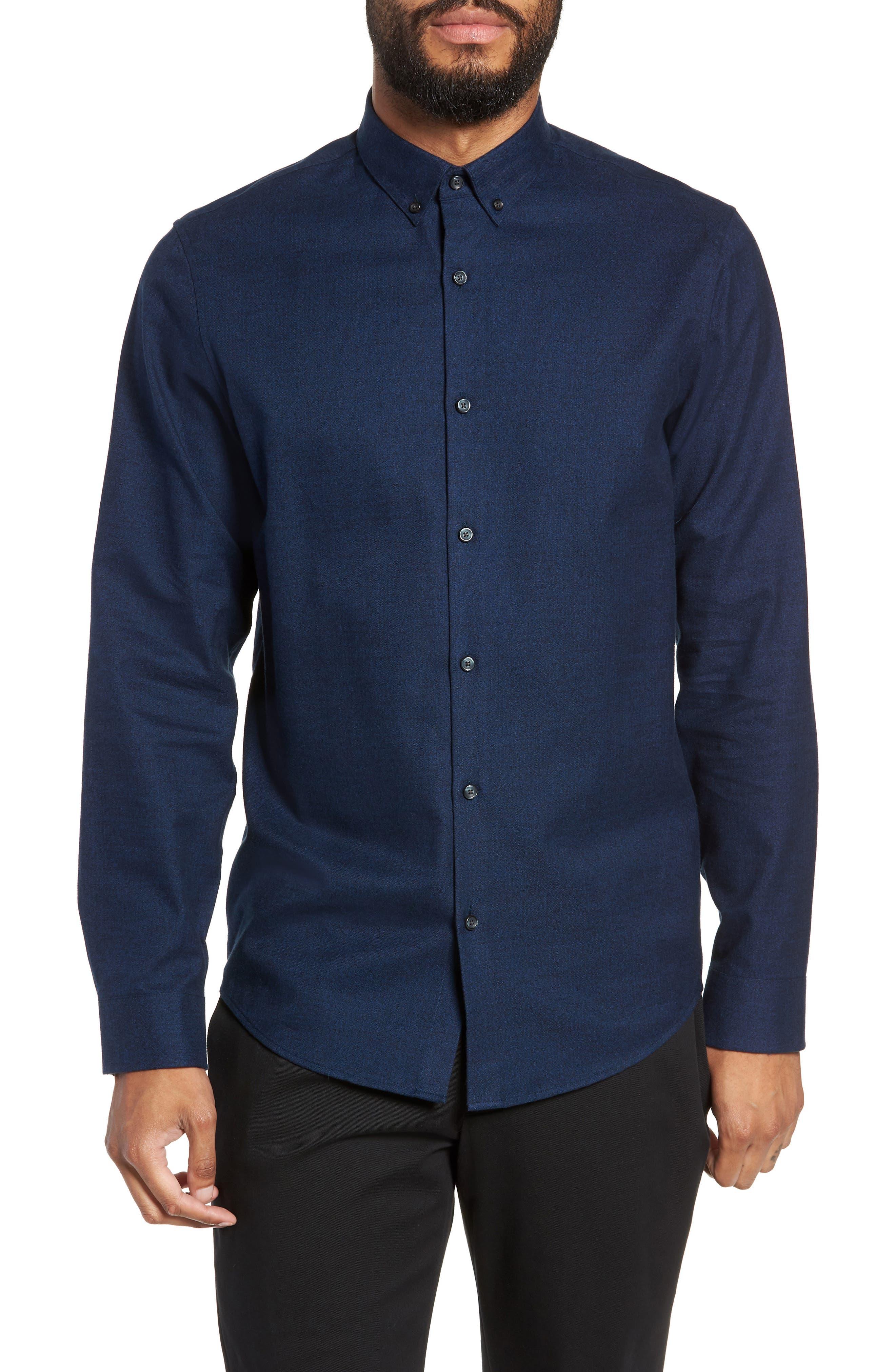 Calibrate Slim Fit Mini Collar Melange Sport Shirt, Blue