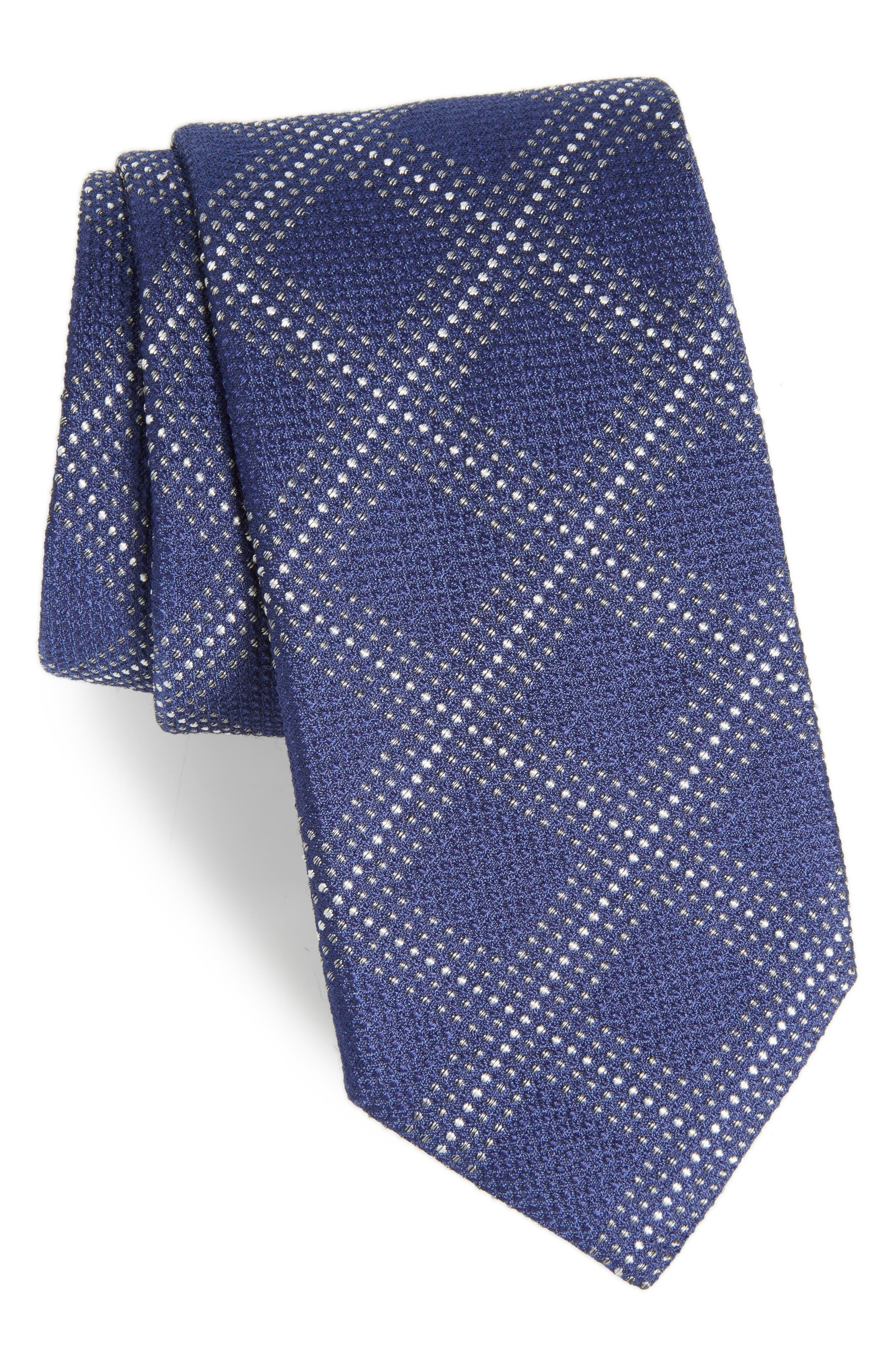 Grid Silk Blend Tie,                             Main thumbnail 2, color,
