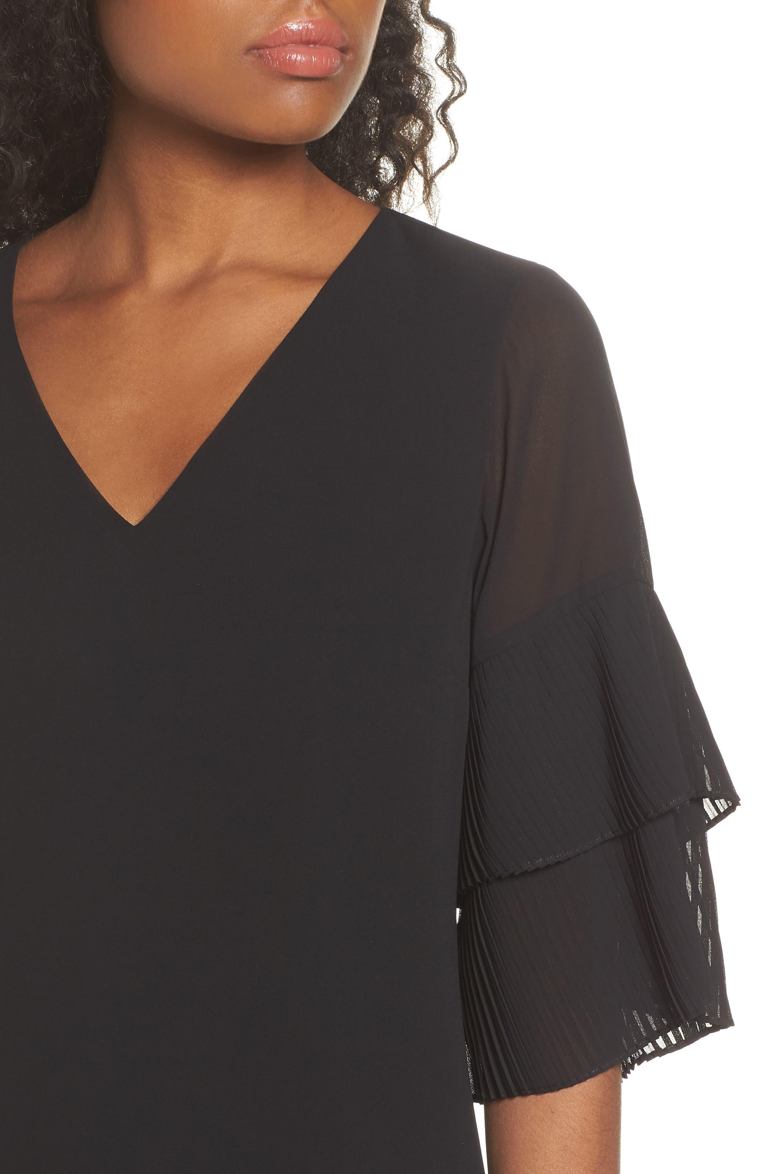 Pleat Sleeve Shift Dress,                             Alternate thumbnail 4, color,                             001