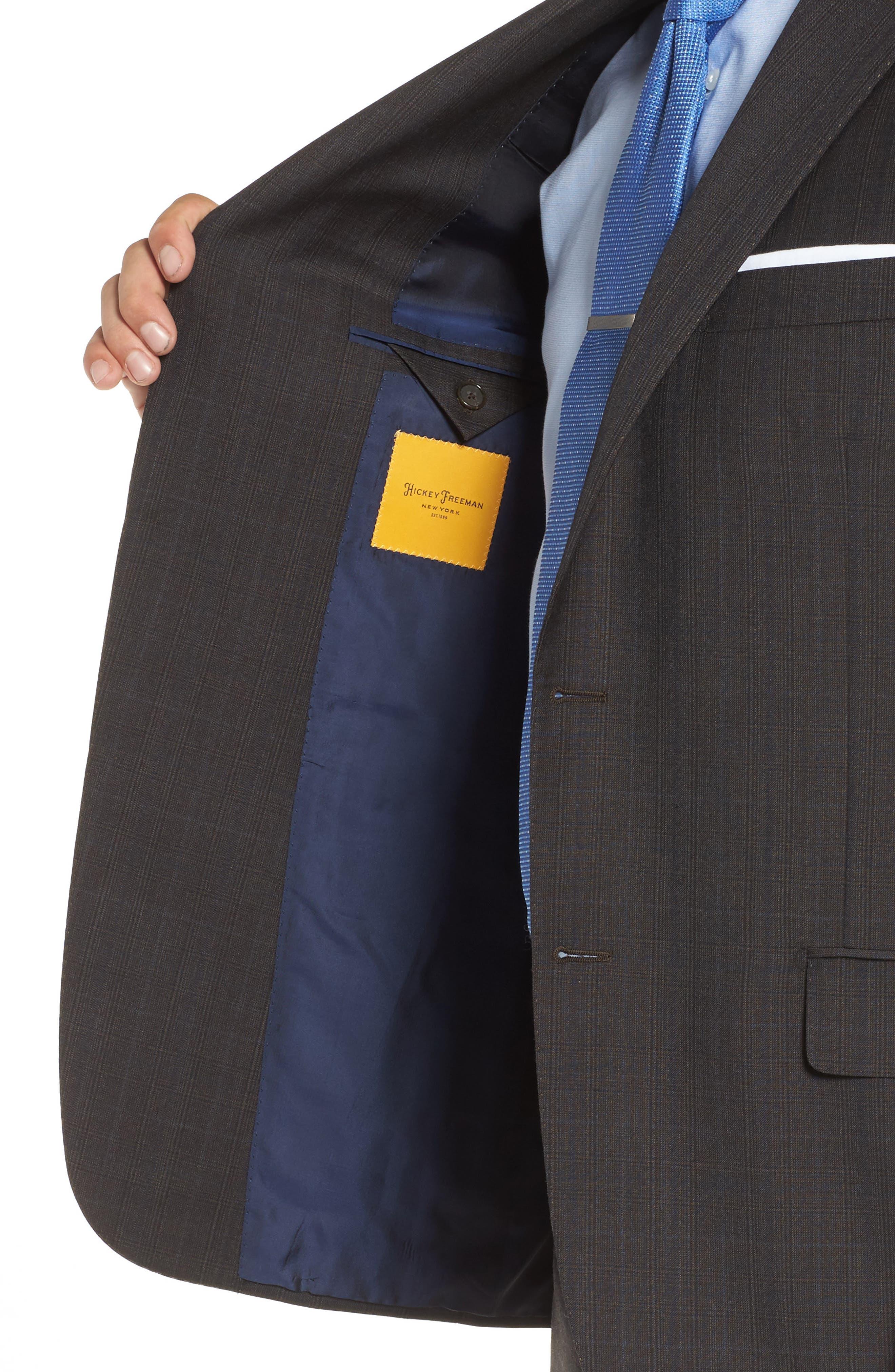 Classic B Fit Check Wool & Cashmere Suit,                             Alternate thumbnail 4, color,                             200