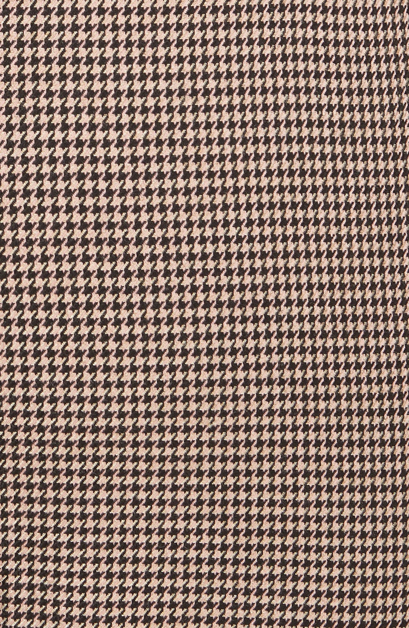 Houndstooth Check Stretch Cotton Blend Pants,                             Alternate thumbnail 5, color,                             CAMEL/ BLACK