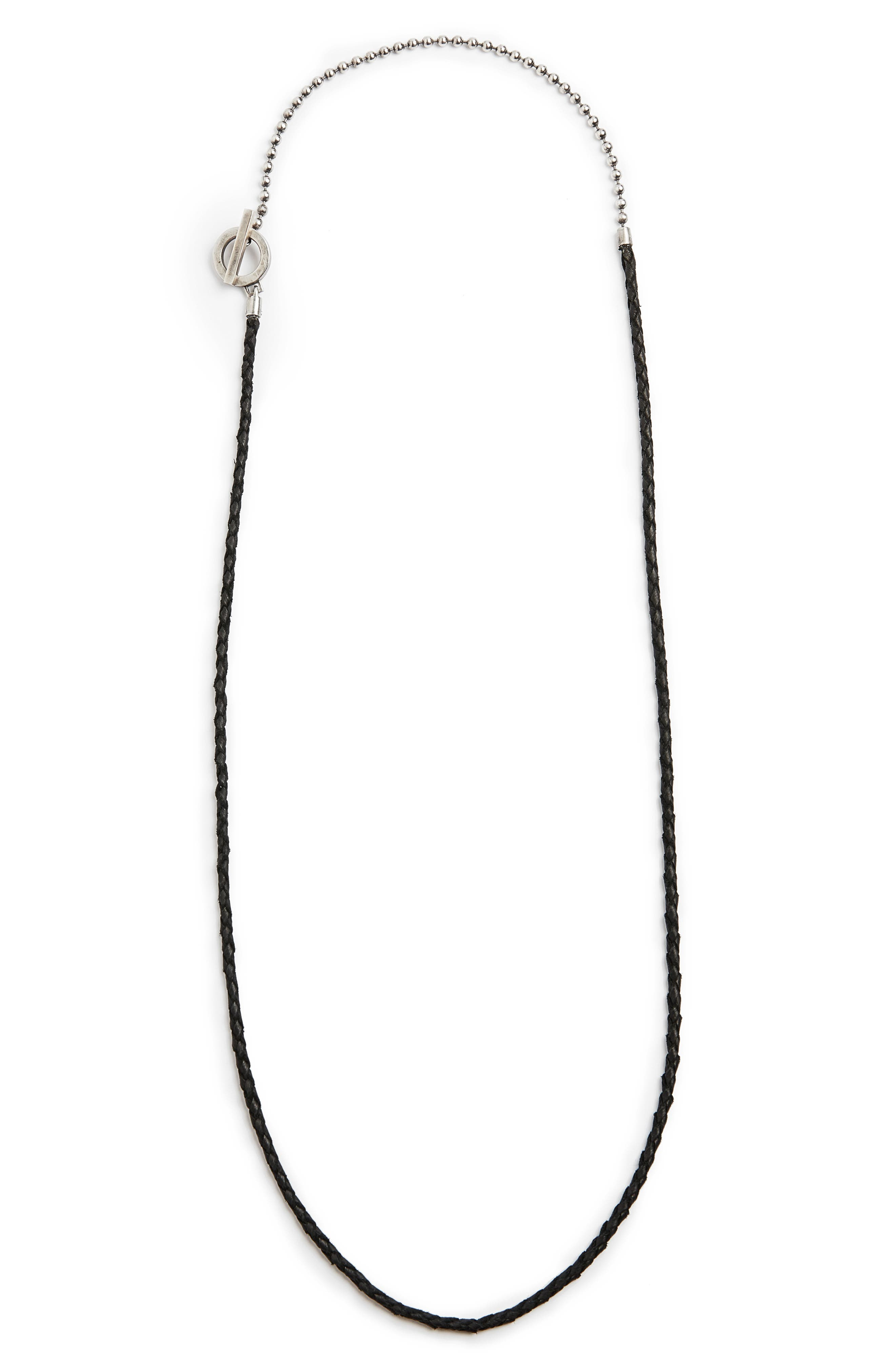 Leather & Sterling Silver Ball Chain Necklace,                         Main,                         color, SILVER/ BLACK
