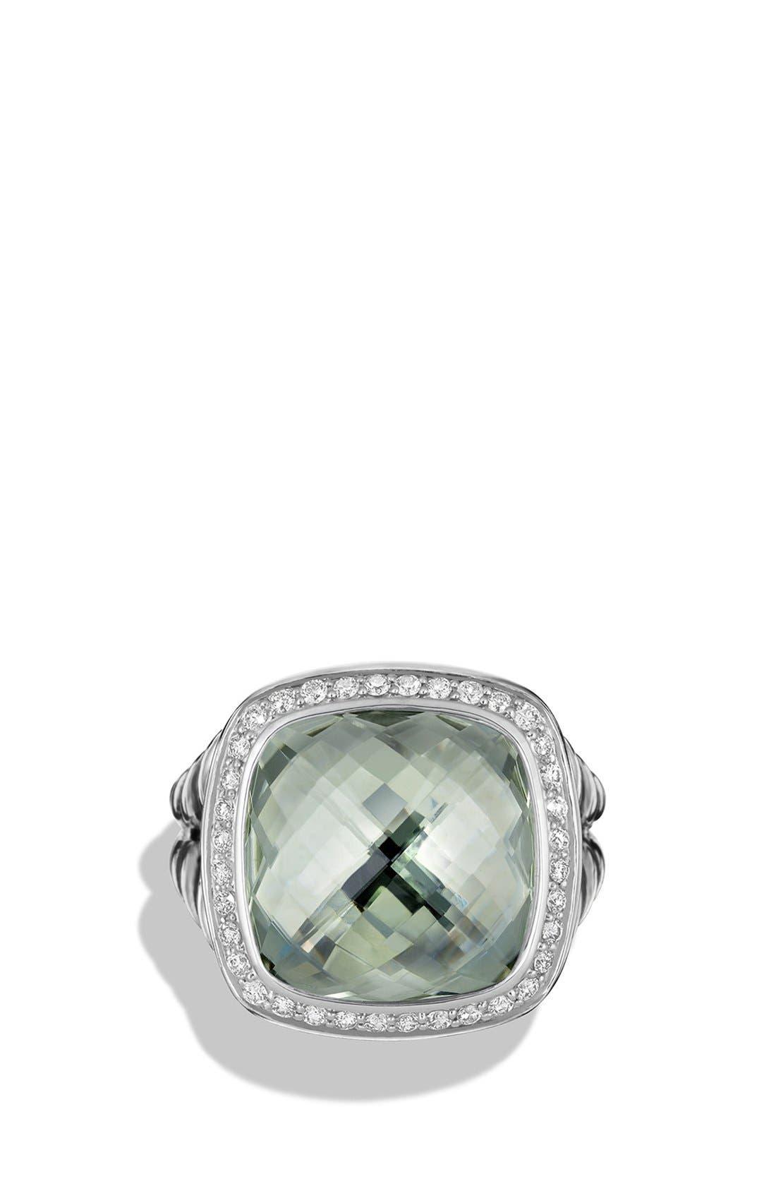 'Albion' Ring with Semiprecious Stone and Diamonds,                             Alternate thumbnail 3, color,                             PRASIOLITE