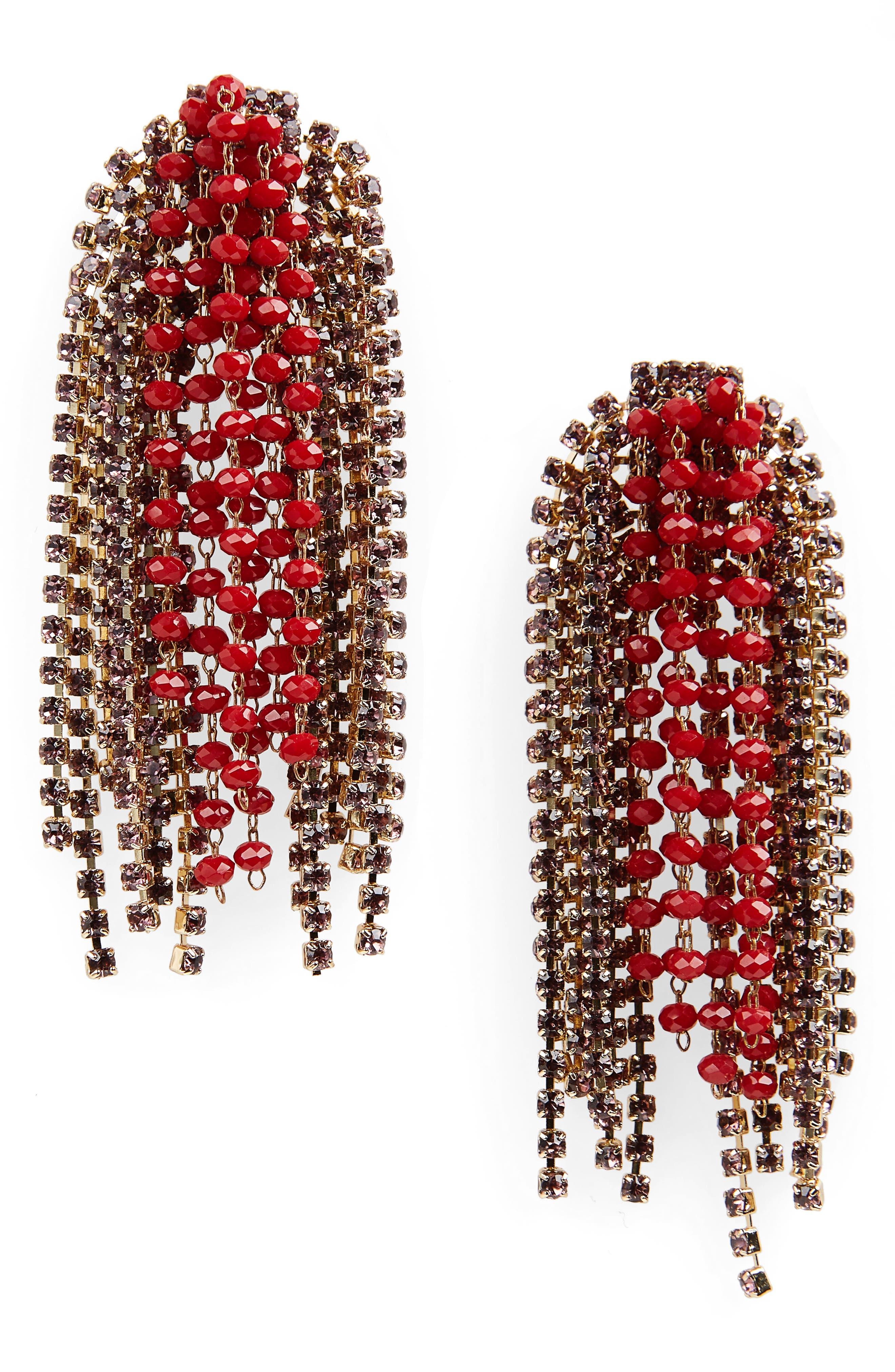 SEREFINA Crystal Statement Earrings in Red