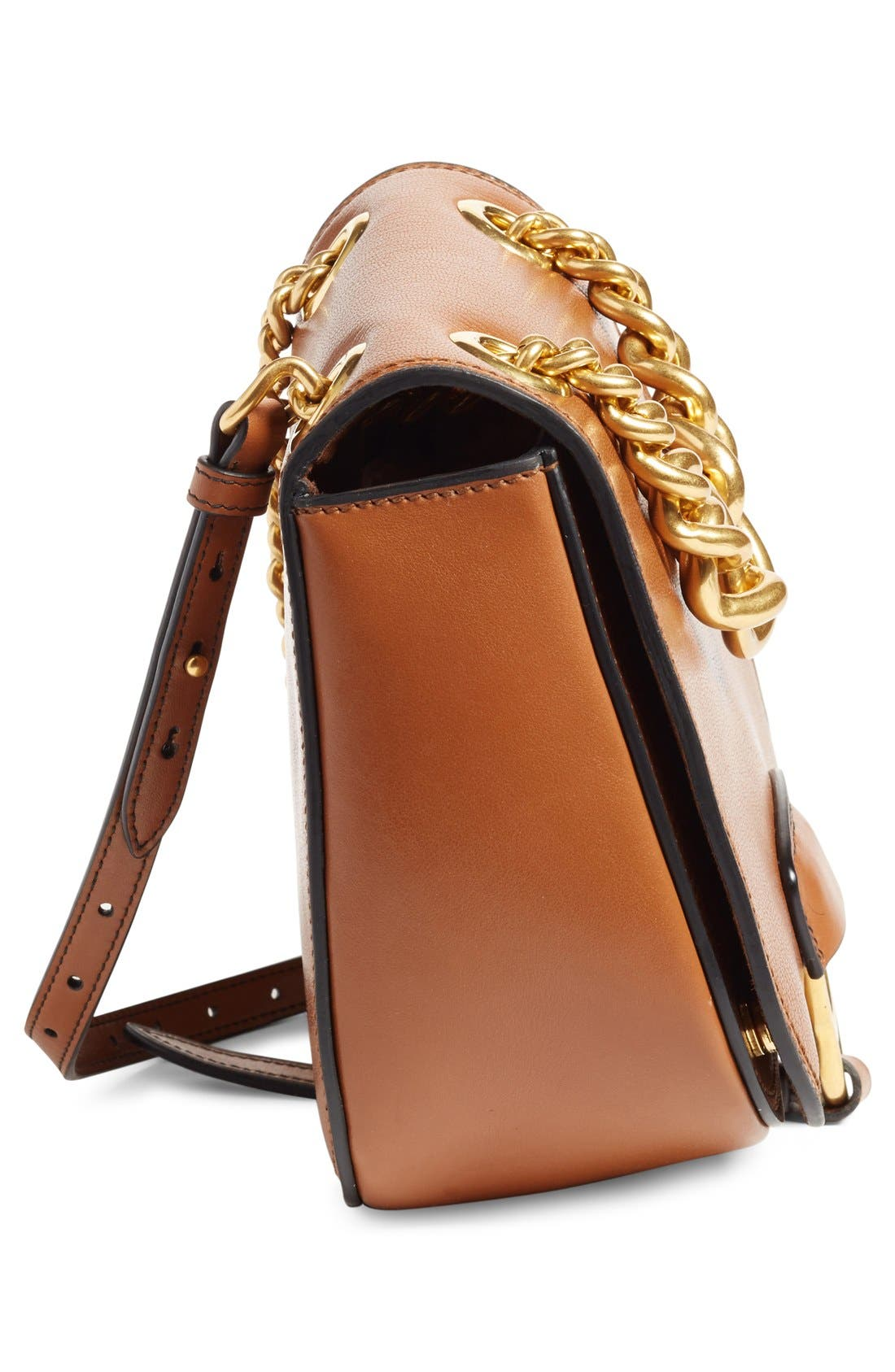 'Dahlia' Goatskin Leather Saddle Bag,                             Alternate thumbnail 10, color,