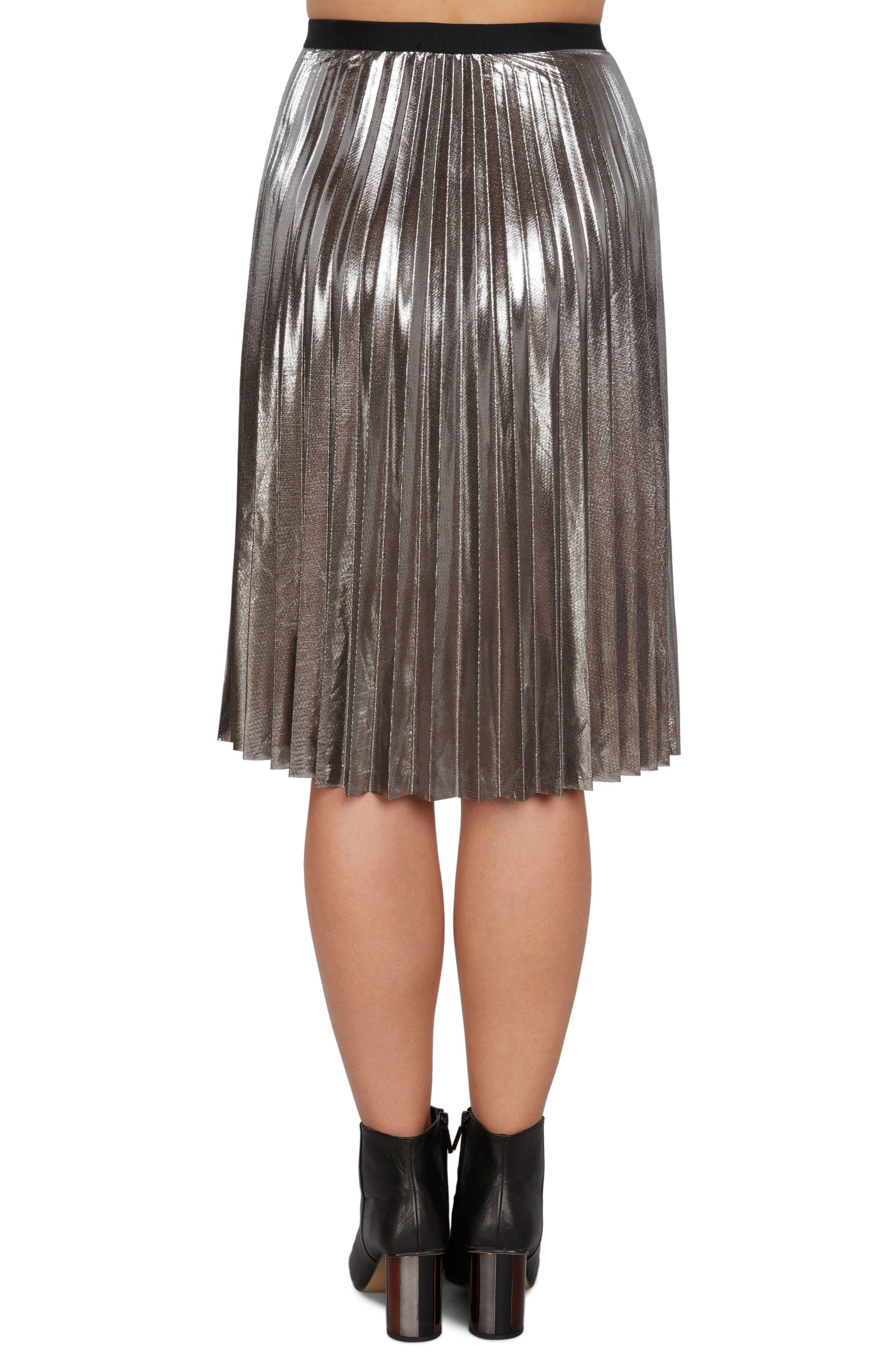 Pleated Metallic Skirt,                             Alternate thumbnail 3, color,