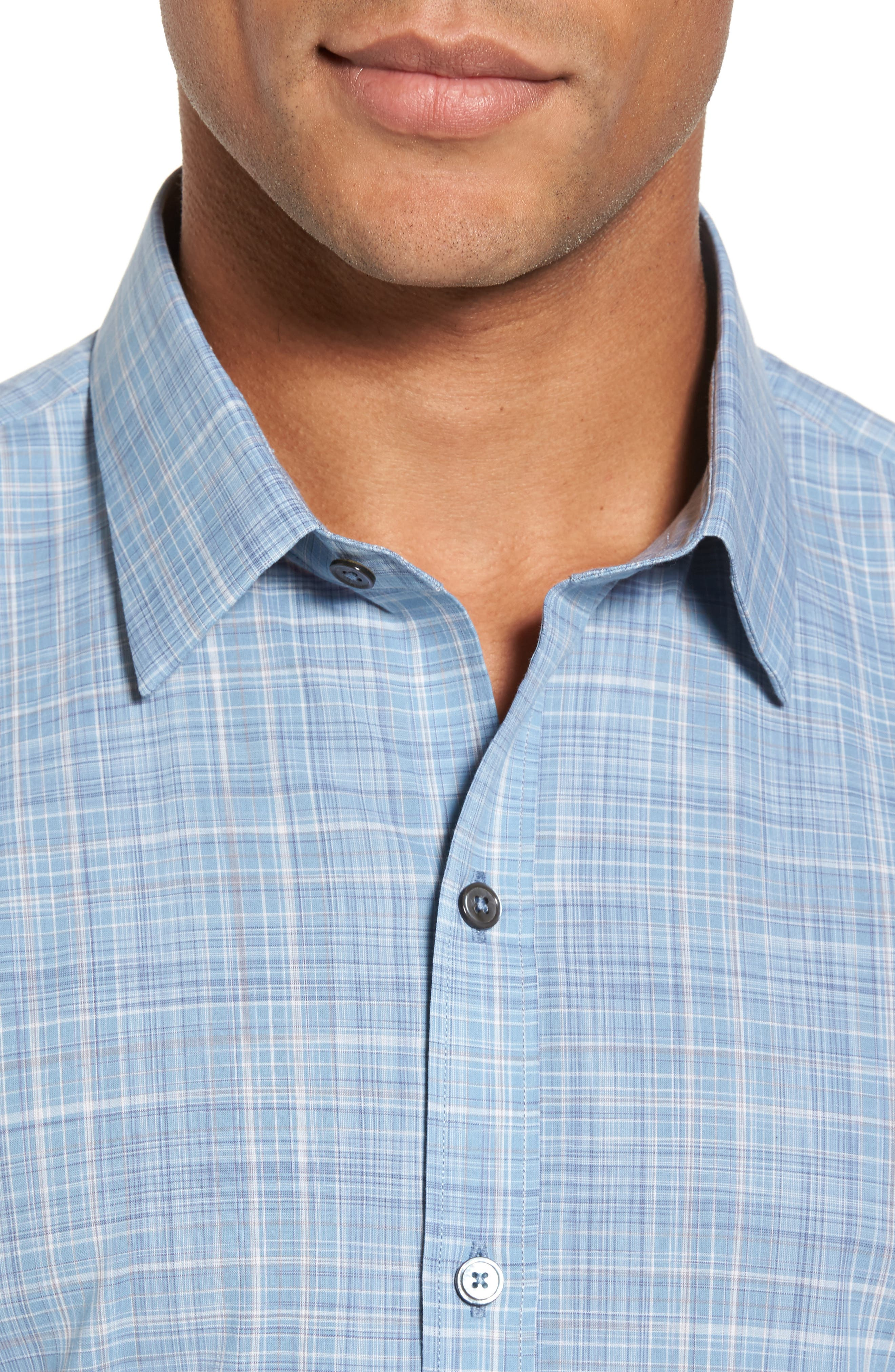 Clark Slim Fit Plaid Sport Shirt,                             Alternate thumbnail 4, color,                             450